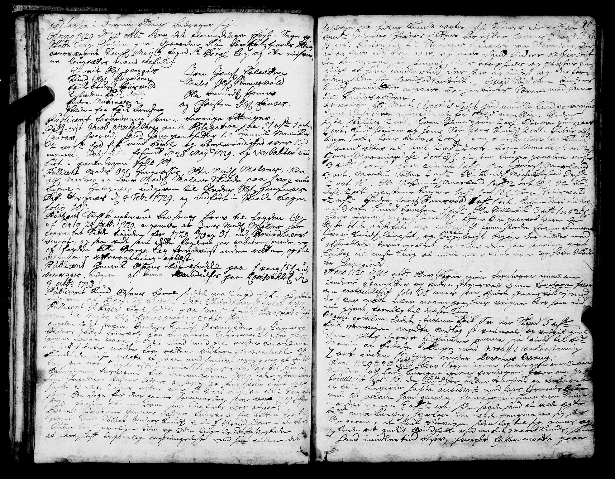SAT, Romsdal sorenskriveri, 1/1A/L0010: Tingbok, 1728-1732, s. 40
