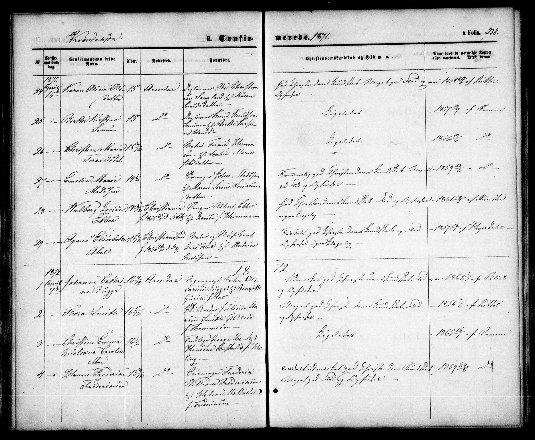 SAK, Arendal sokneprestkontor, Trefoldighet, F/Fa/L0007: Ministerialbok nr. A 7, 1868-1878, s. 238