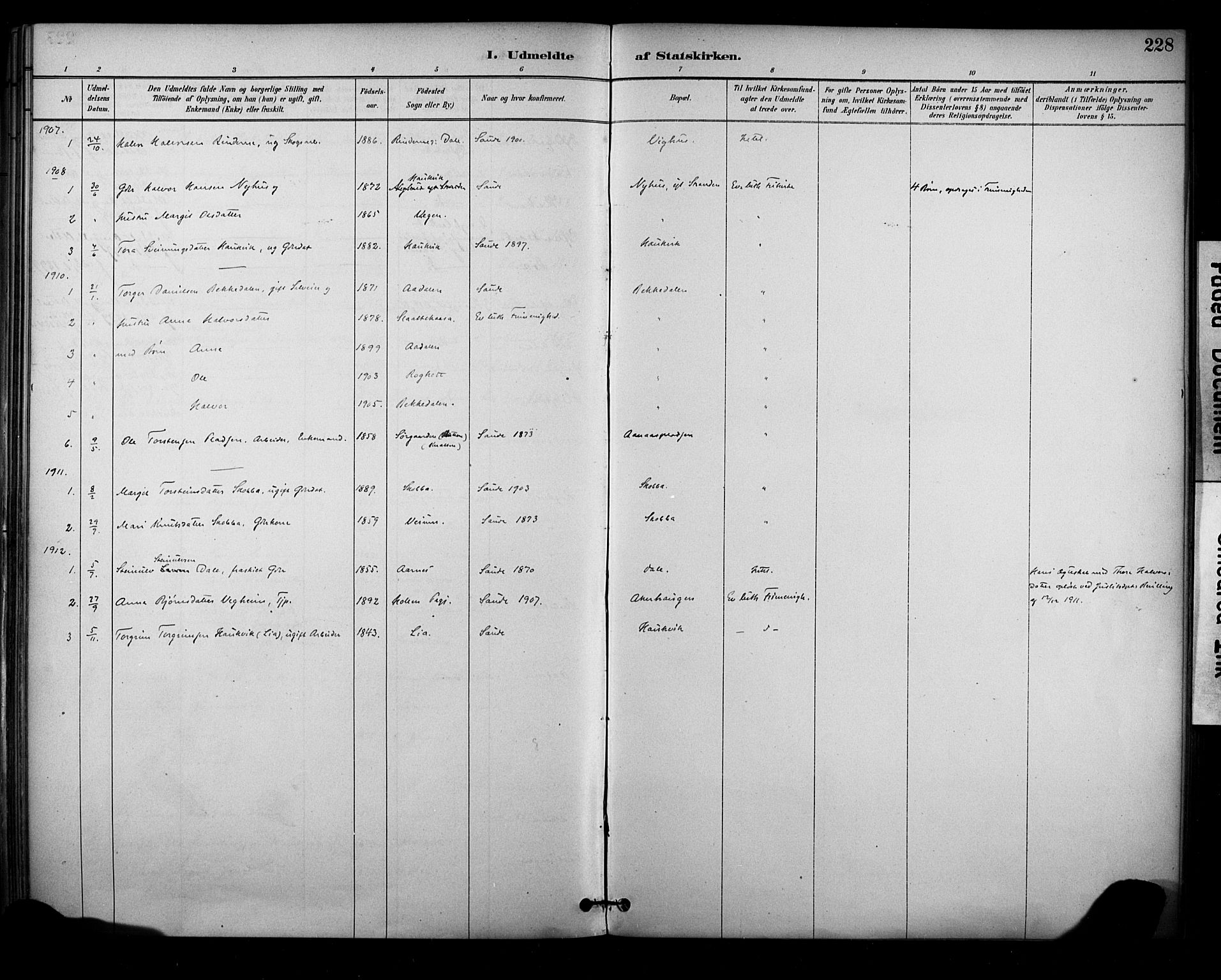 SAKO, Sauherad kirkebøker, F/Fa/L0009: Ministerialbok nr. I 9, 1887-1912, s. 228