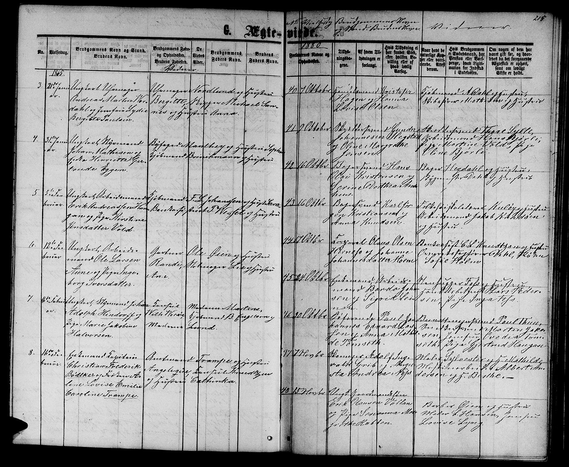 SAT, Ministerialprotokoller, klokkerbøker og fødselsregistre - Sør-Trøndelag, 601/L0087: Klokkerbok nr. 601C05, 1864-1881, s. 215