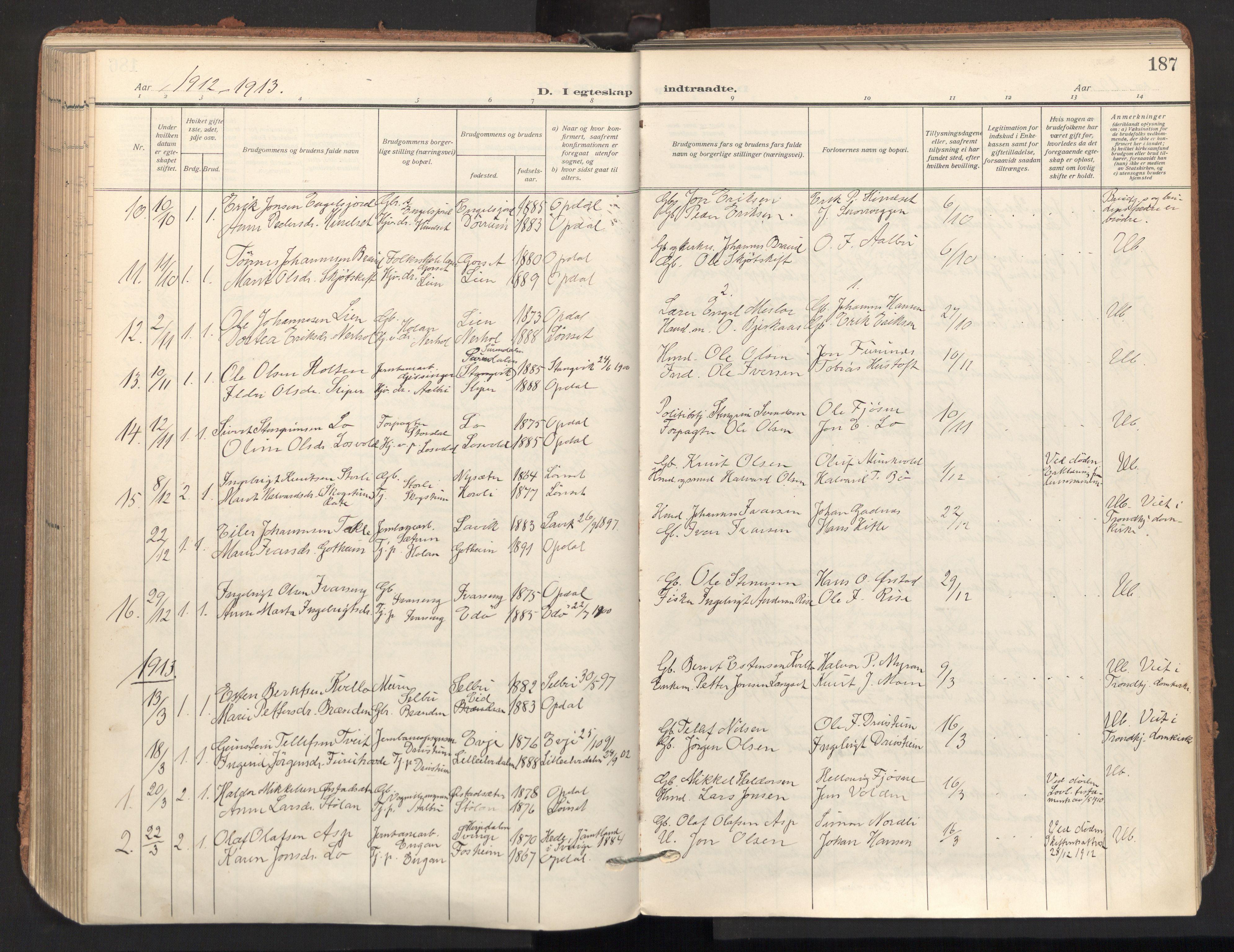 SAT, Ministerialprotokoller, klokkerbøker og fødselsregistre - Sør-Trøndelag, 678/L0909: Ministerialbok nr. 678A17, 1912-1930, s. 187