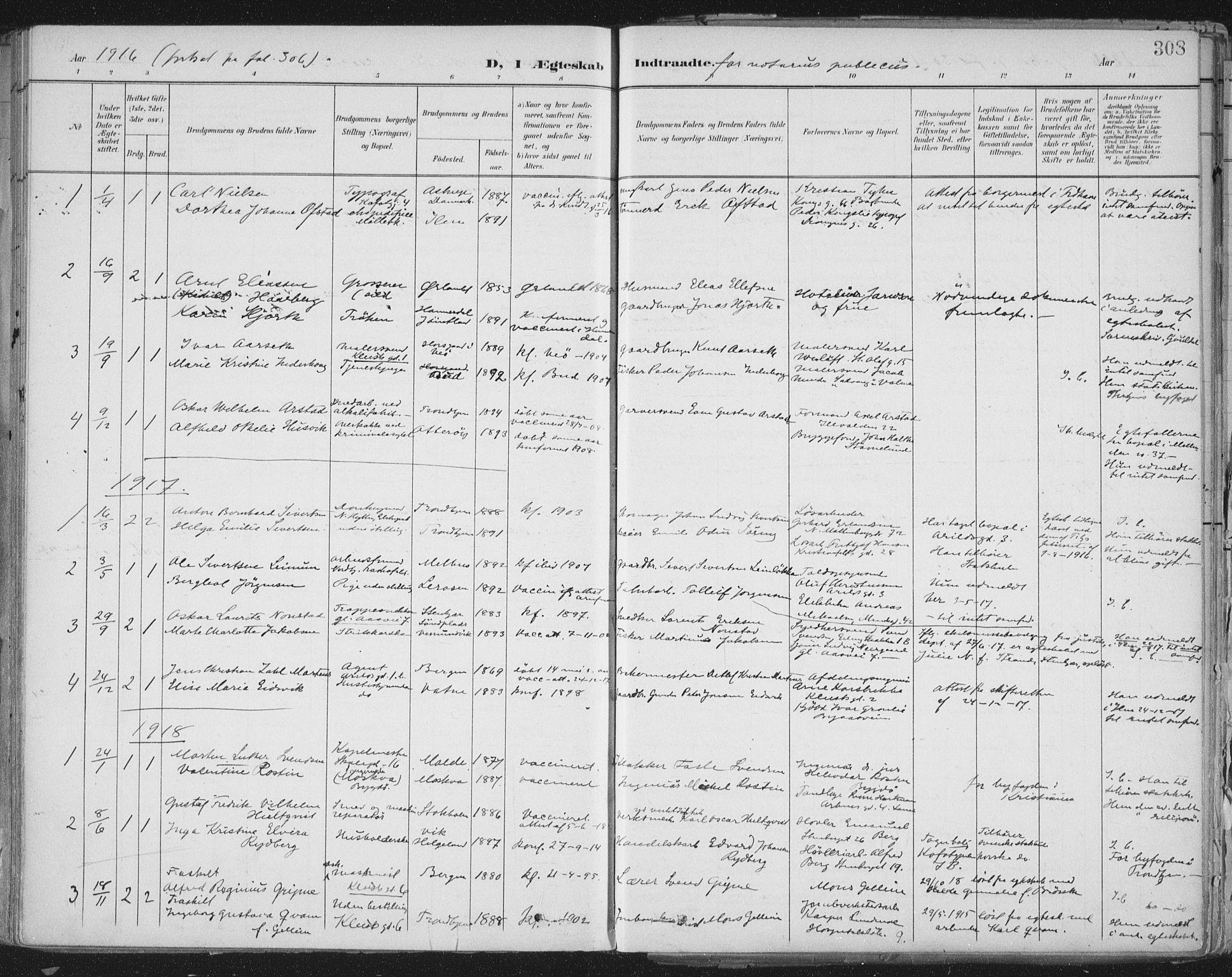 SAT, Ministerialprotokoller, klokkerbøker og fødselsregistre - Sør-Trøndelag, 603/L0167: Ministerialbok nr. 603A06, 1896-1932, s. 308