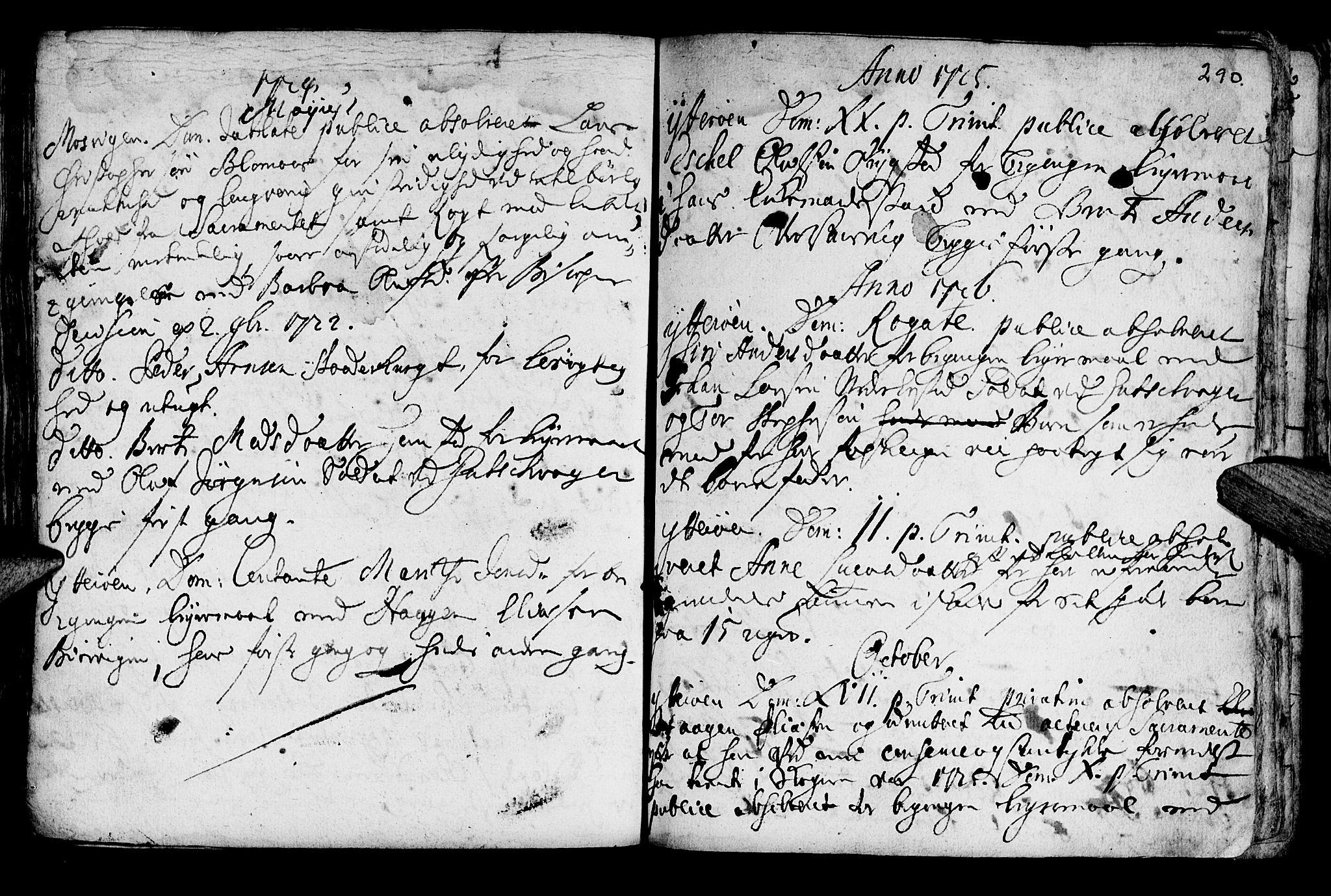 SAT, Ministerialprotokoller, klokkerbøker og fødselsregistre - Nord-Trøndelag, 722/L0215: Ministerialbok nr. 722A02, 1718-1755, s. 290