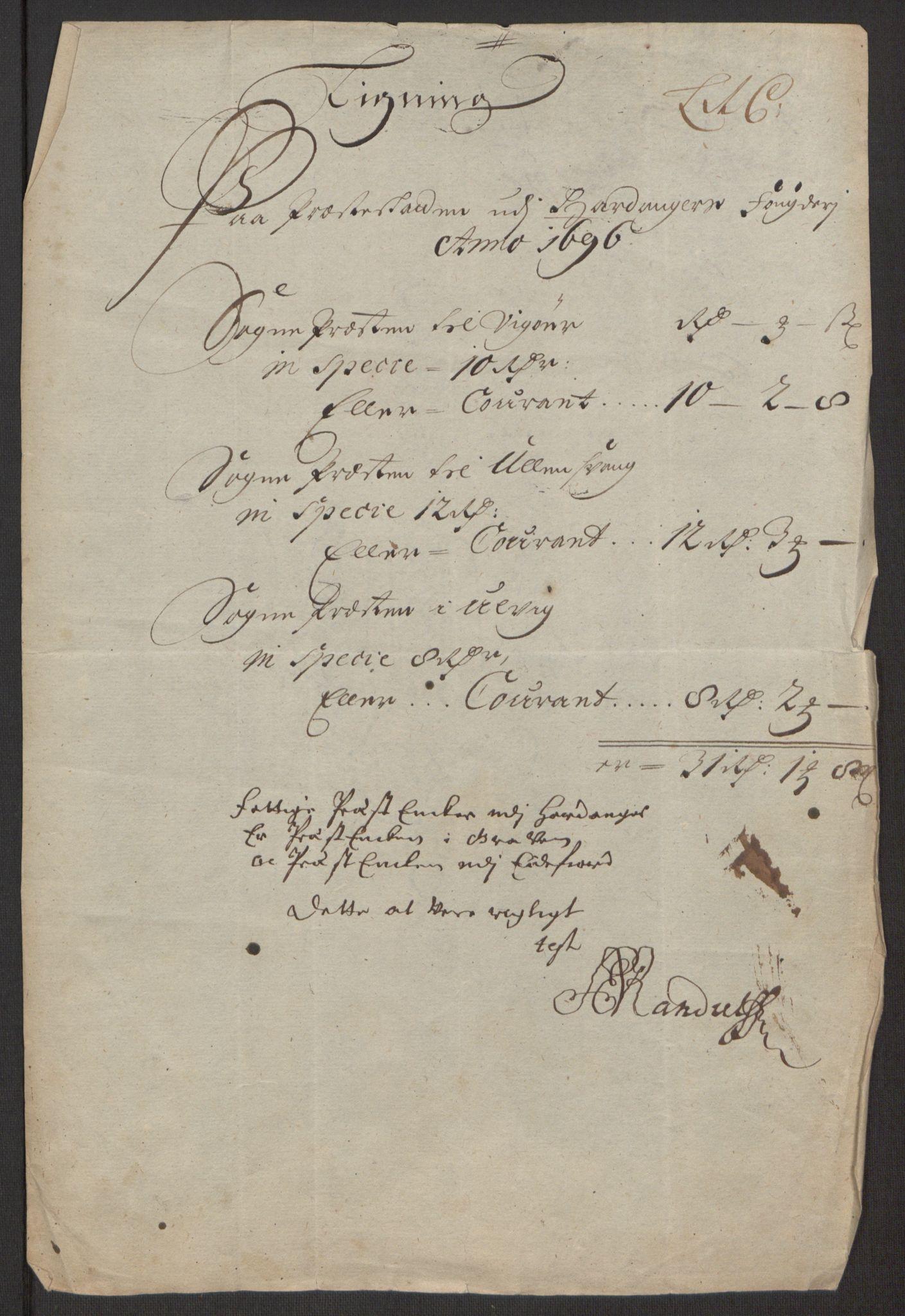 RA, Rentekammeret inntil 1814, Reviderte regnskaper, Fogderegnskap, R48/L2976: Fogderegnskap Sunnhordland og Hardanger, 1695-1696, s. 472