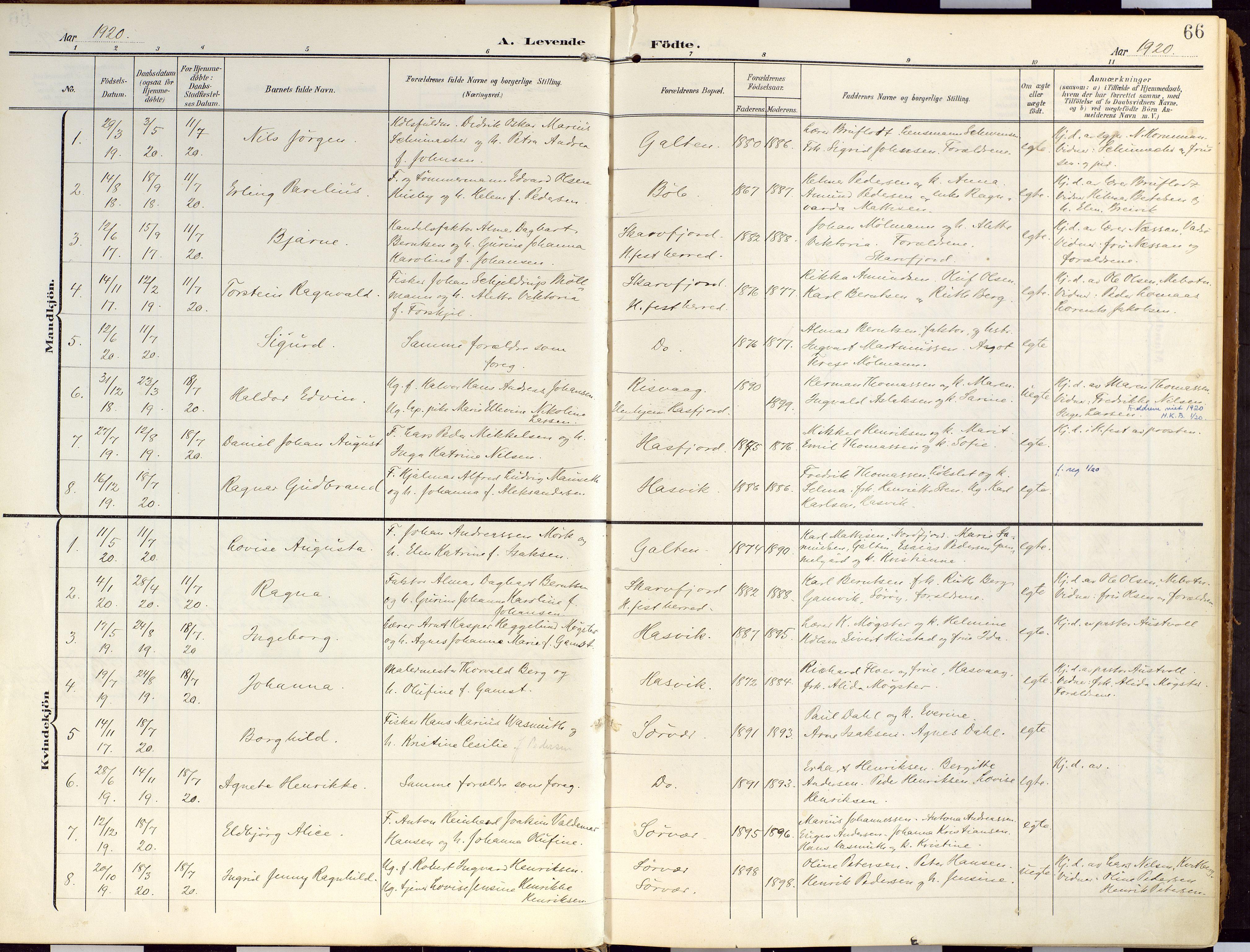 SATØ, Loppa sokneprestkontor, H/Ha/L0010kirke: Ministerialbok nr. 10, 1907-1922, s. 66