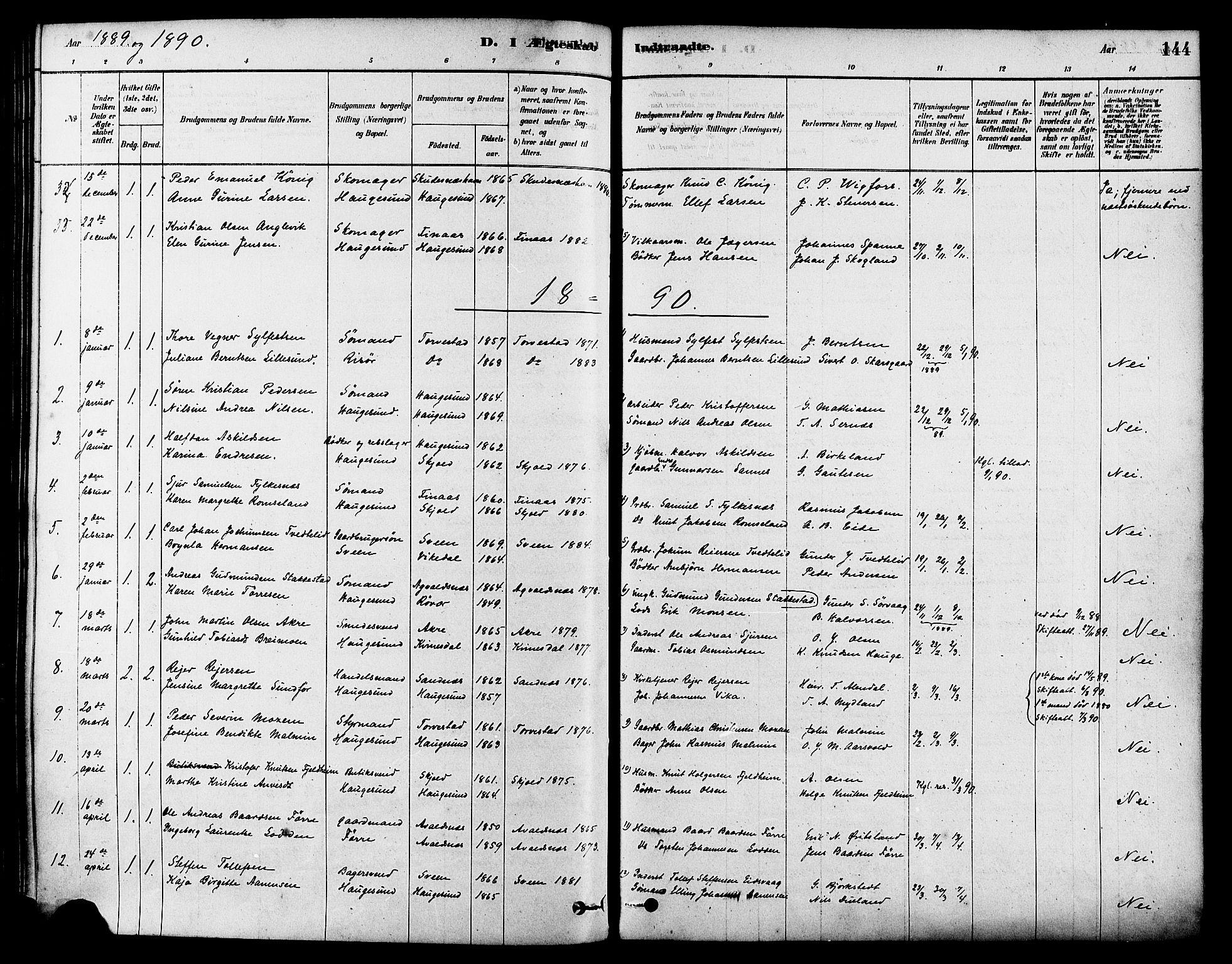 SAST, Haugesund sokneprestkontor, H/Ha/Haa/L0003: Ministerialbok nr. A 3, 1885-1890, s. 144
