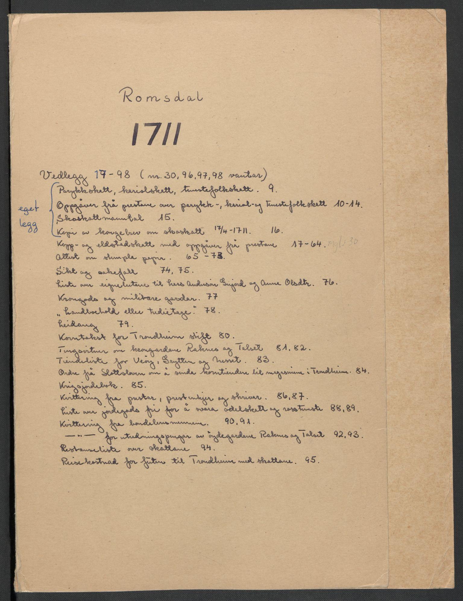 RA, Rentekammeret inntil 1814, Reviderte regnskaper, Fogderegnskap, R55/L3660: Fogderegnskap Romsdal, 1711, s. 216