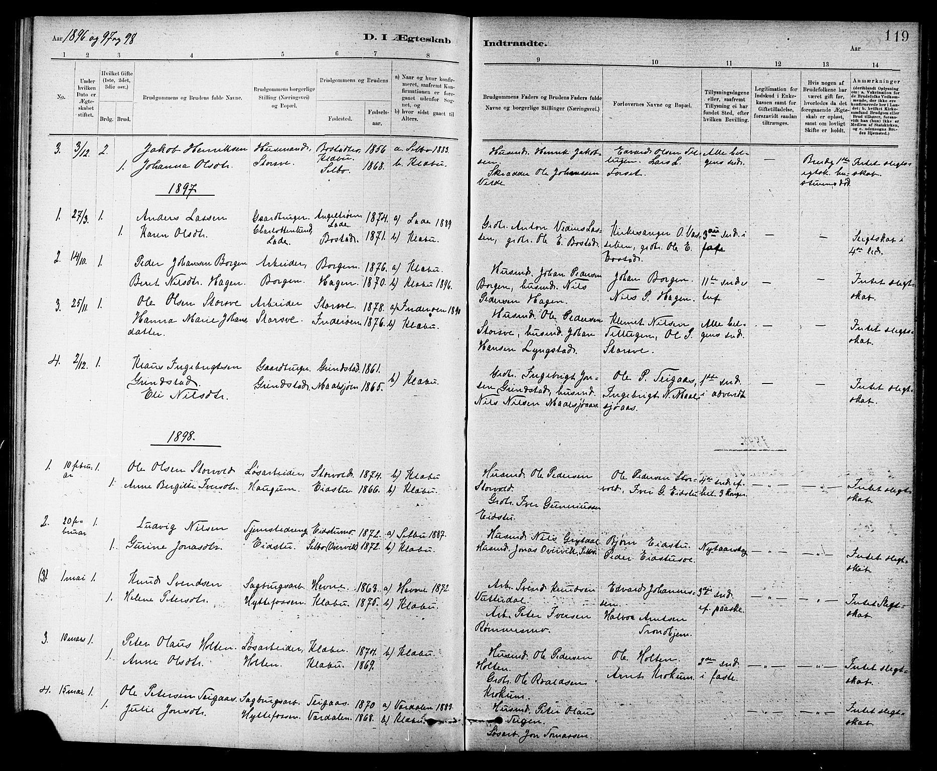 SAT, Ministerialprotokoller, klokkerbøker og fødselsregistre - Sør-Trøndelag, 618/L0452: Klokkerbok nr. 618C03, 1884-1906, s. 119
