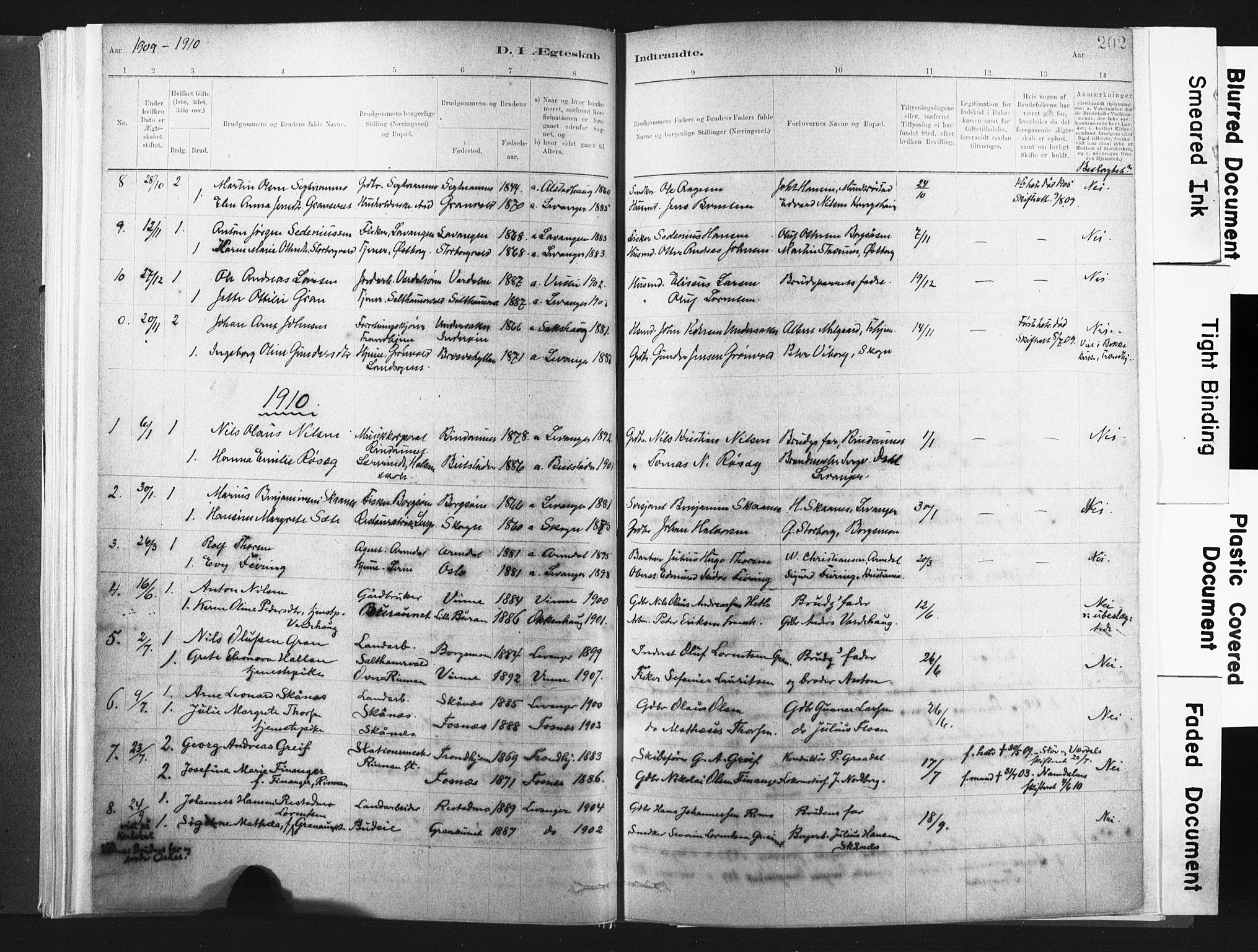 SAT, Ministerialprotokoller, klokkerbøker og fødselsregistre - Nord-Trøndelag, 721/L0207: Ministerialbok nr. 721A02, 1880-1911, s. 202
