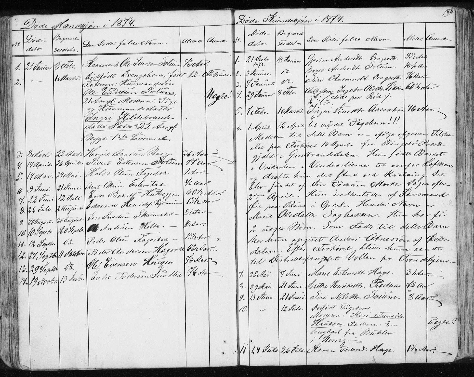SAT, Ministerialprotokoller, klokkerbøker og fødselsregistre - Sør-Trøndelag, 689/L1043: Klokkerbok nr. 689C02, 1816-1892, s. 186