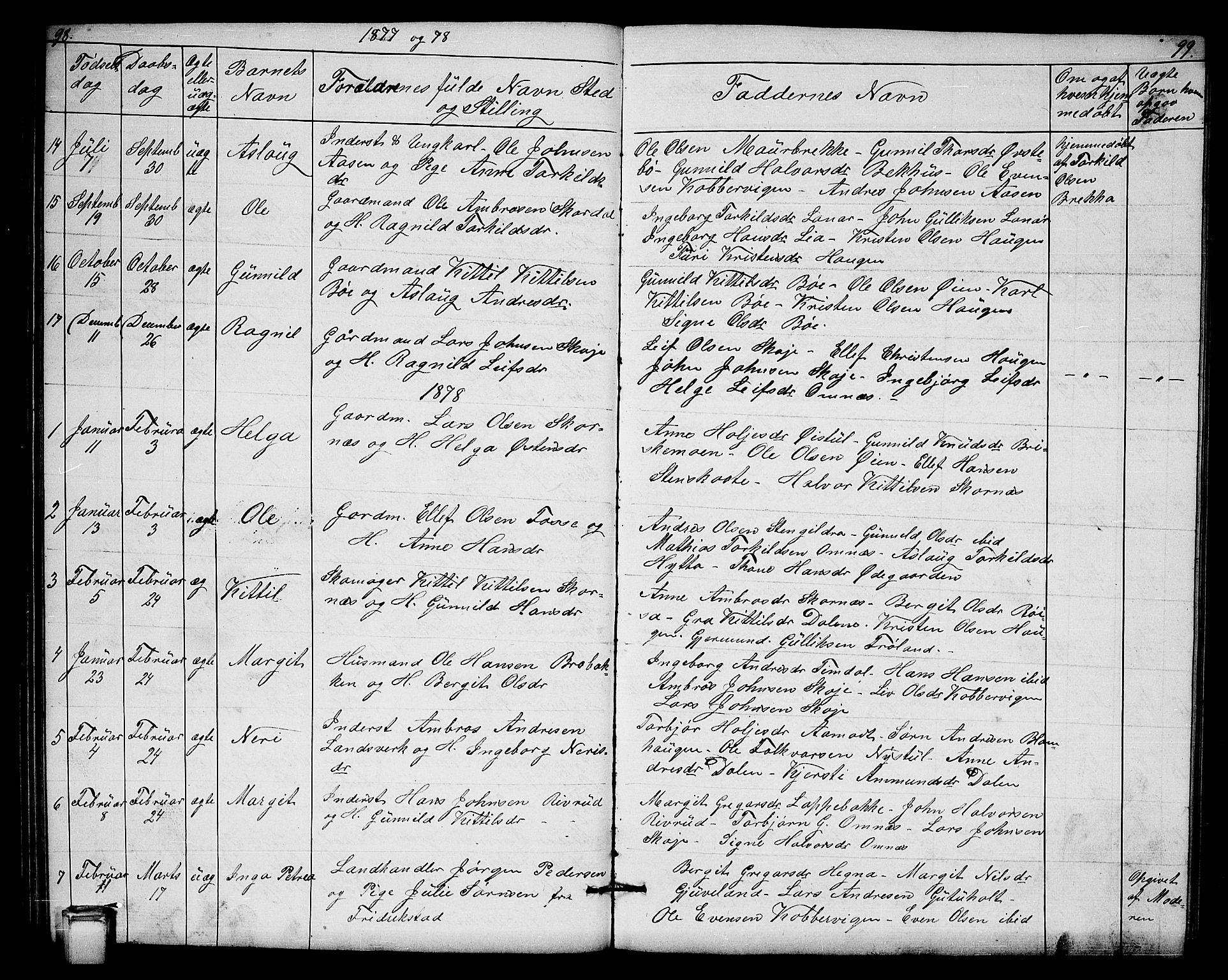SAKO, Hjartdal kirkebøker, G/Gb/L0002: Klokkerbok nr. II 2, 1854-1884, s. 98-99