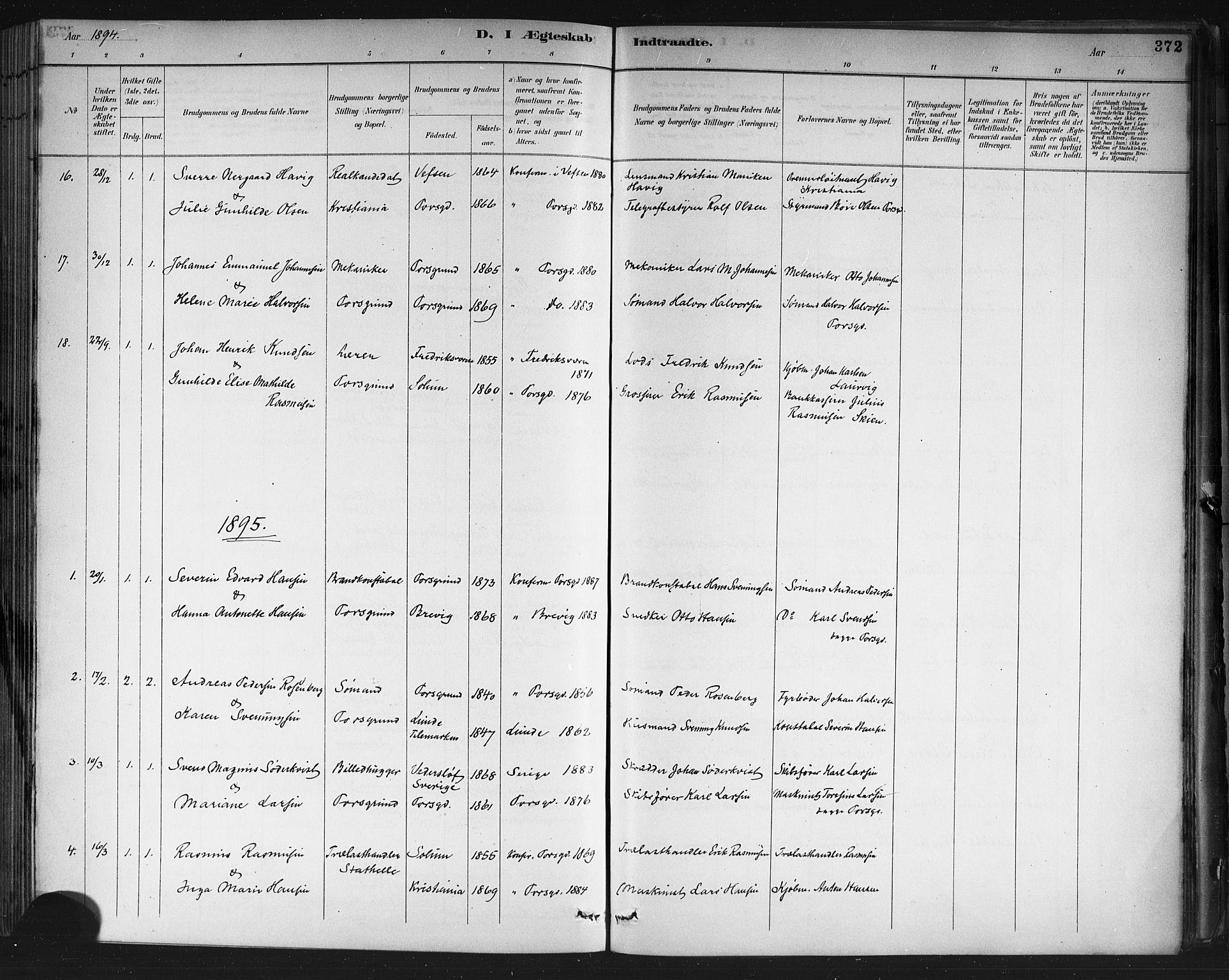 SAKO, Porsgrunn kirkebøker , G/Gb/L0005: Klokkerbok nr. II 5, 1883-1915, s. 372