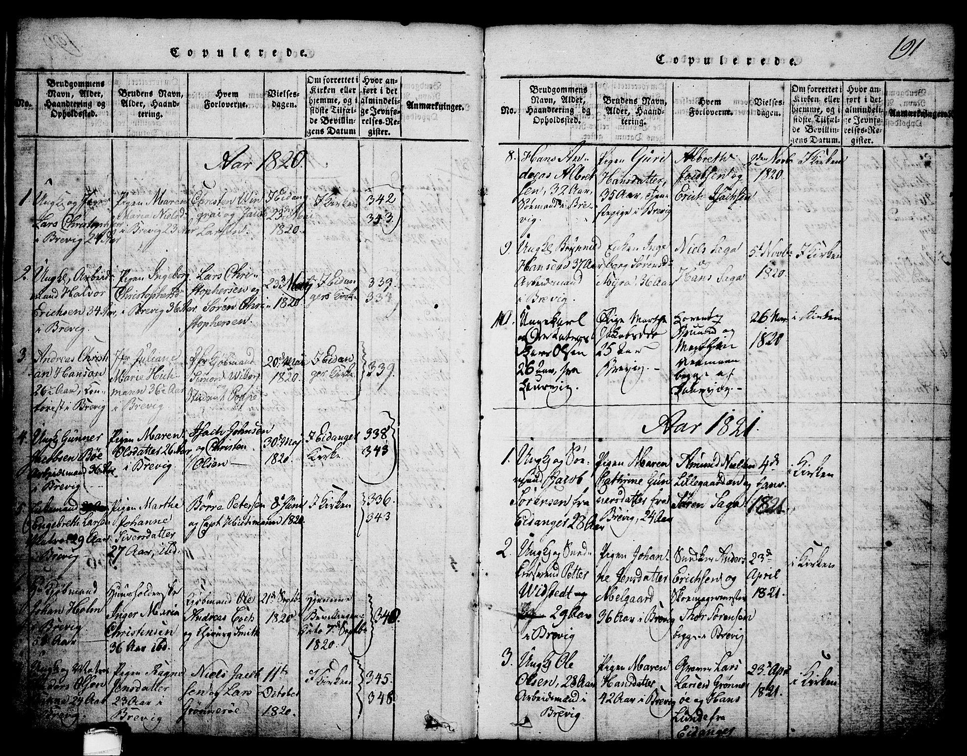 SAKO, Brevik kirkebøker, G/Ga/L0001: Klokkerbok nr. 1, 1814-1845, s. 191