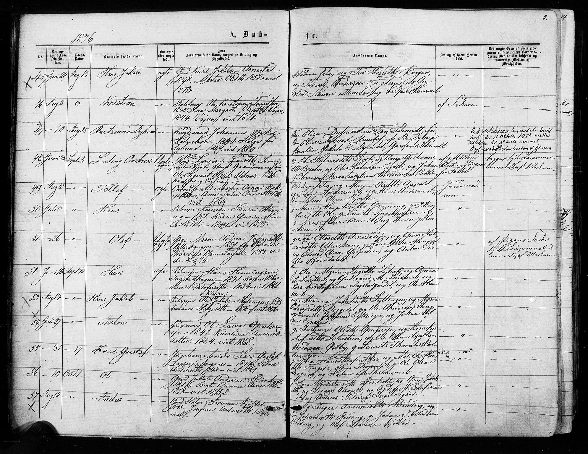 SAO, Nes prestekontor Kirkebøker, F/Fa/L0009: Ministerialbok nr. I 9, 1875-1882, s. 9