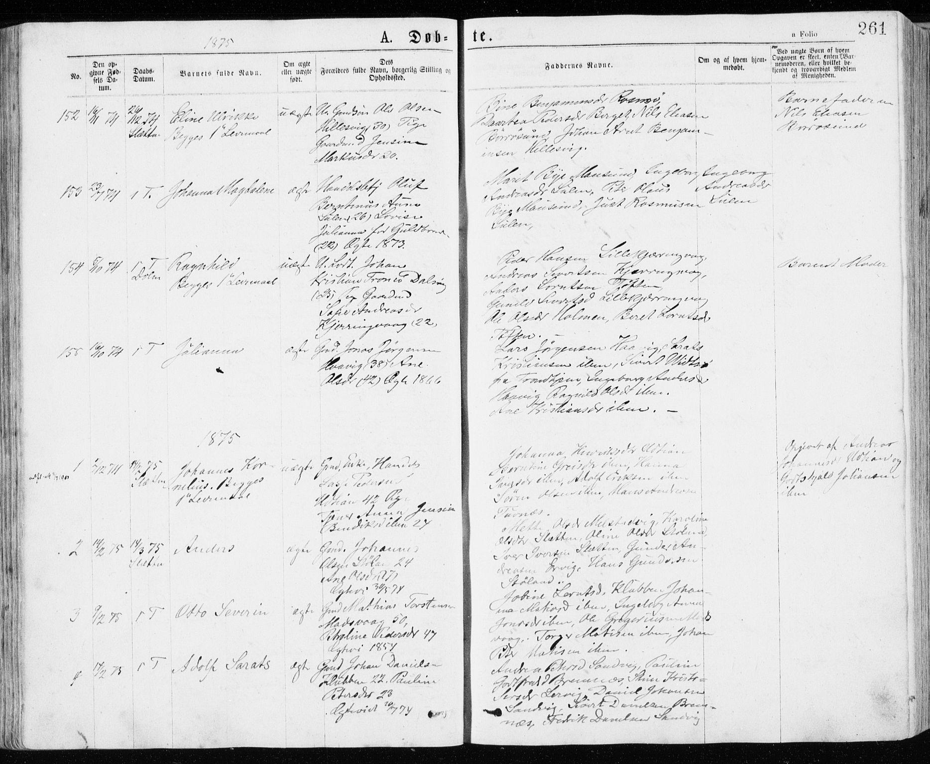 SAT, Ministerialprotokoller, klokkerbøker og fødselsregistre - Sør-Trøndelag, 640/L0576: Ministerialbok nr. 640A01, 1846-1876, s. 261