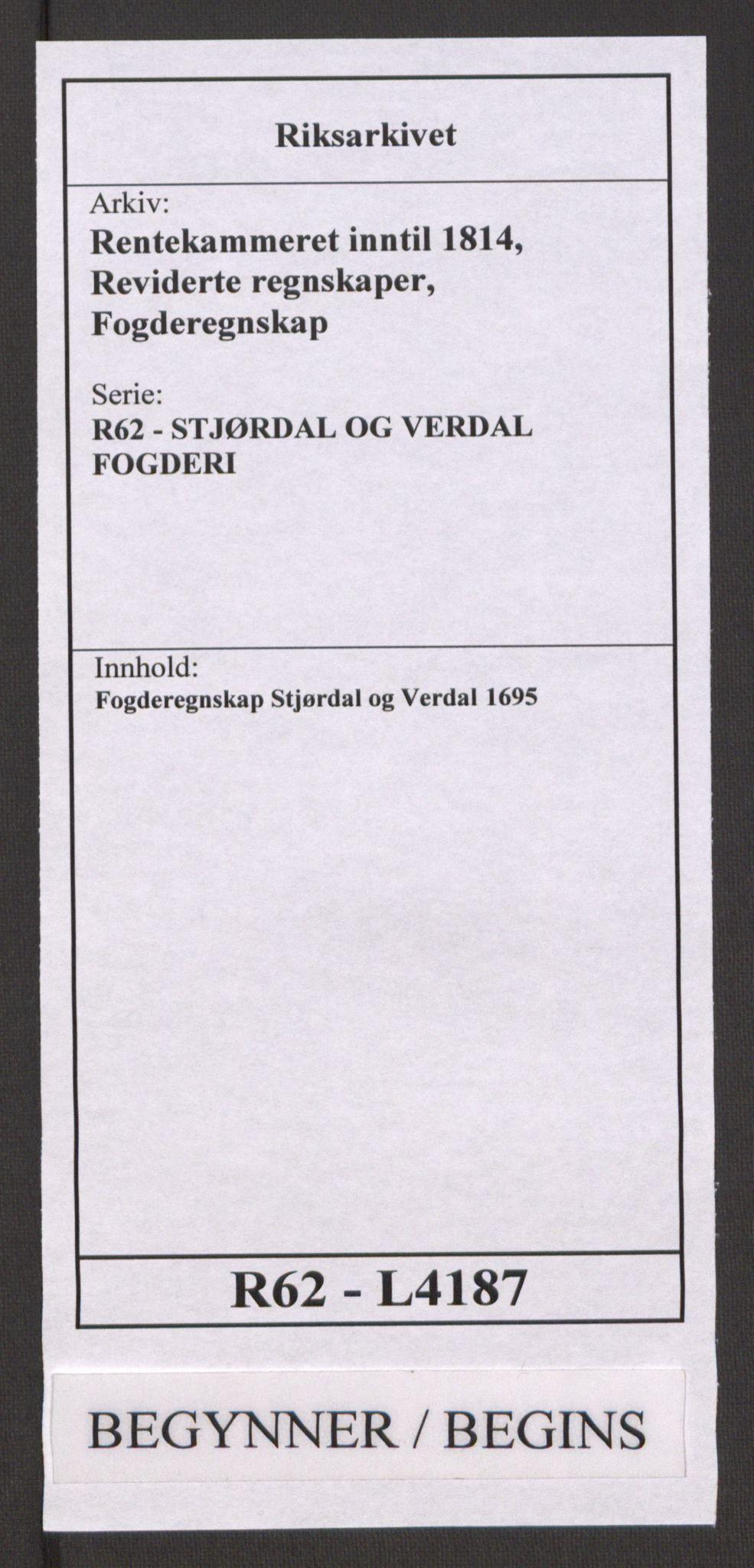 RA, Rentekammeret inntil 1814, Reviderte regnskaper, Fogderegnskap, R62/L4187: Fogderegnskap Stjørdal og Verdal, 1695, s. 1