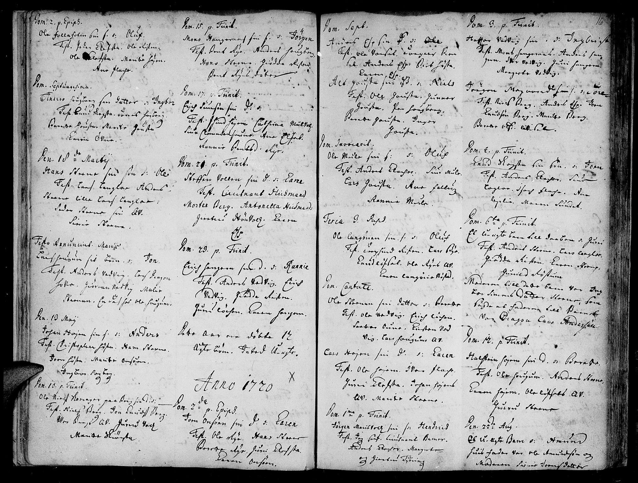 SAT, Ministerialprotokoller, klokkerbøker og fødselsregistre - Sør-Trøndelag, 612/L0368: Ministerialbok nr. 612A02, 1702-1753, s. 16