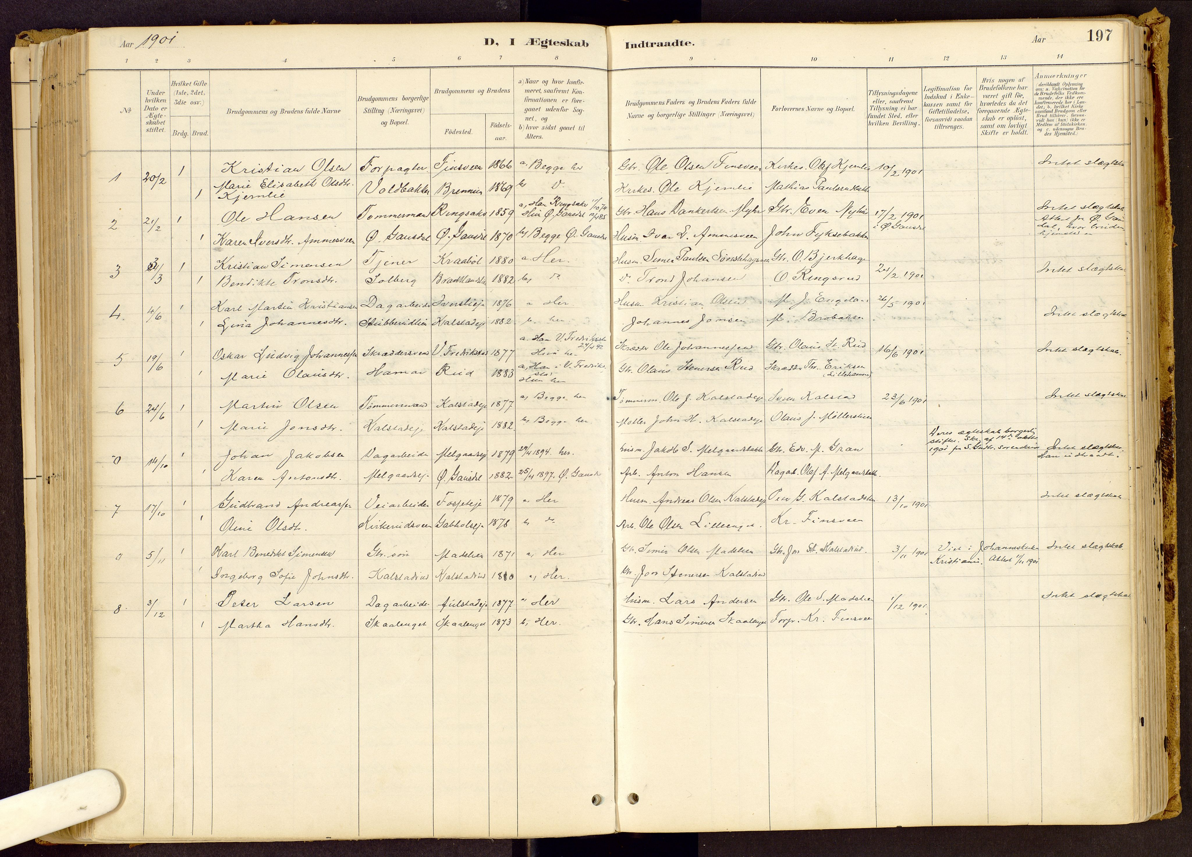 SAH, Vestre Gausdal prestekontor, Ministerialbok nr. 1, 1887-1914, s. 197