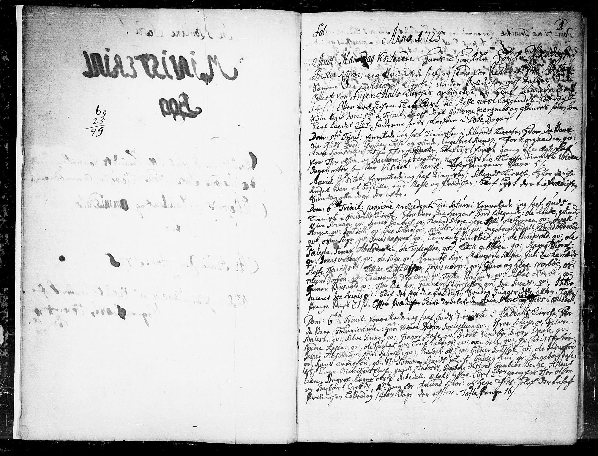 SAKO, Seljord kirkebøker, F/Fa/L0004: Ministerialbok nr. I 4, 1725-1736, s. 1