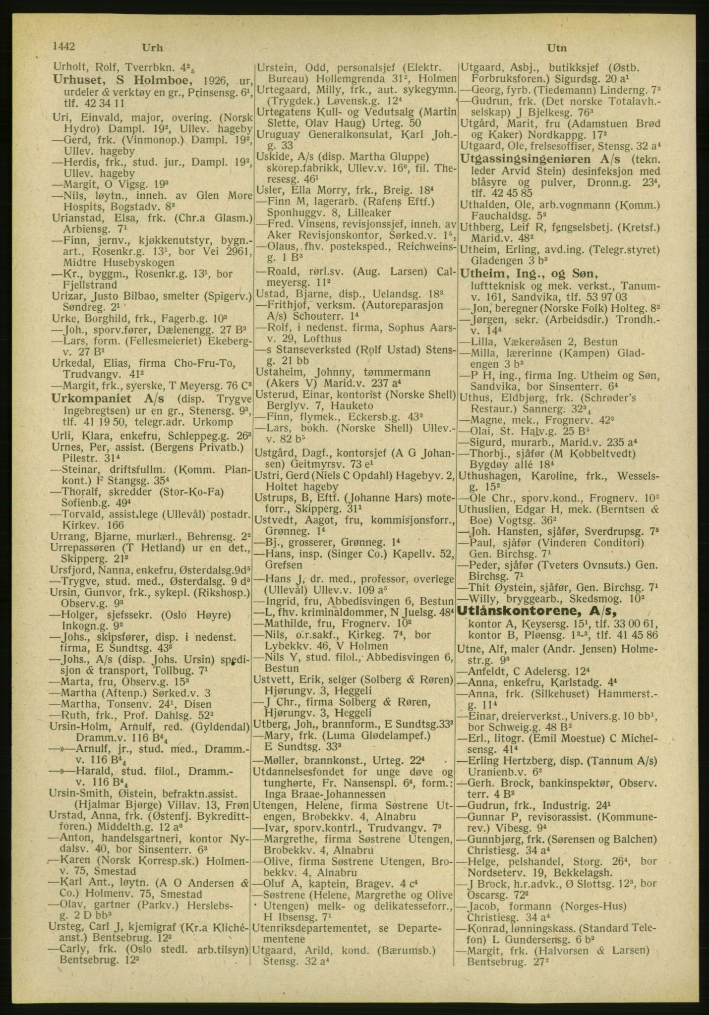 PUBL, Kristiania/Oslo adressebok, 1951, s. 1442
