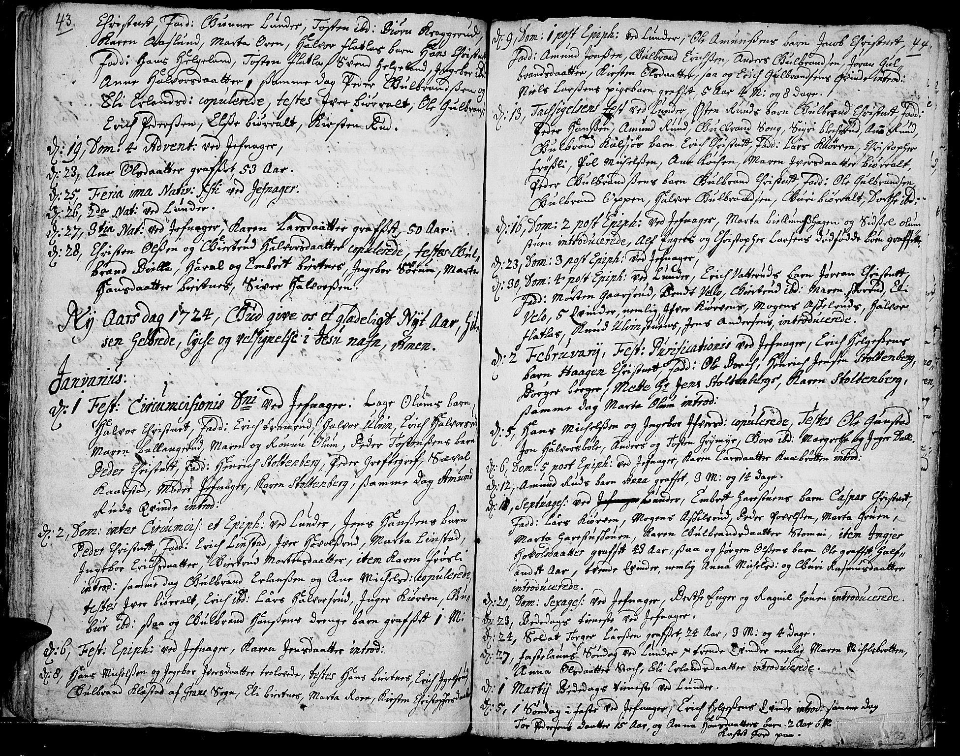 SAH, Jevnaker prestekontor, Ministerialbok nr. 1, 1718-1725, s. 43-44