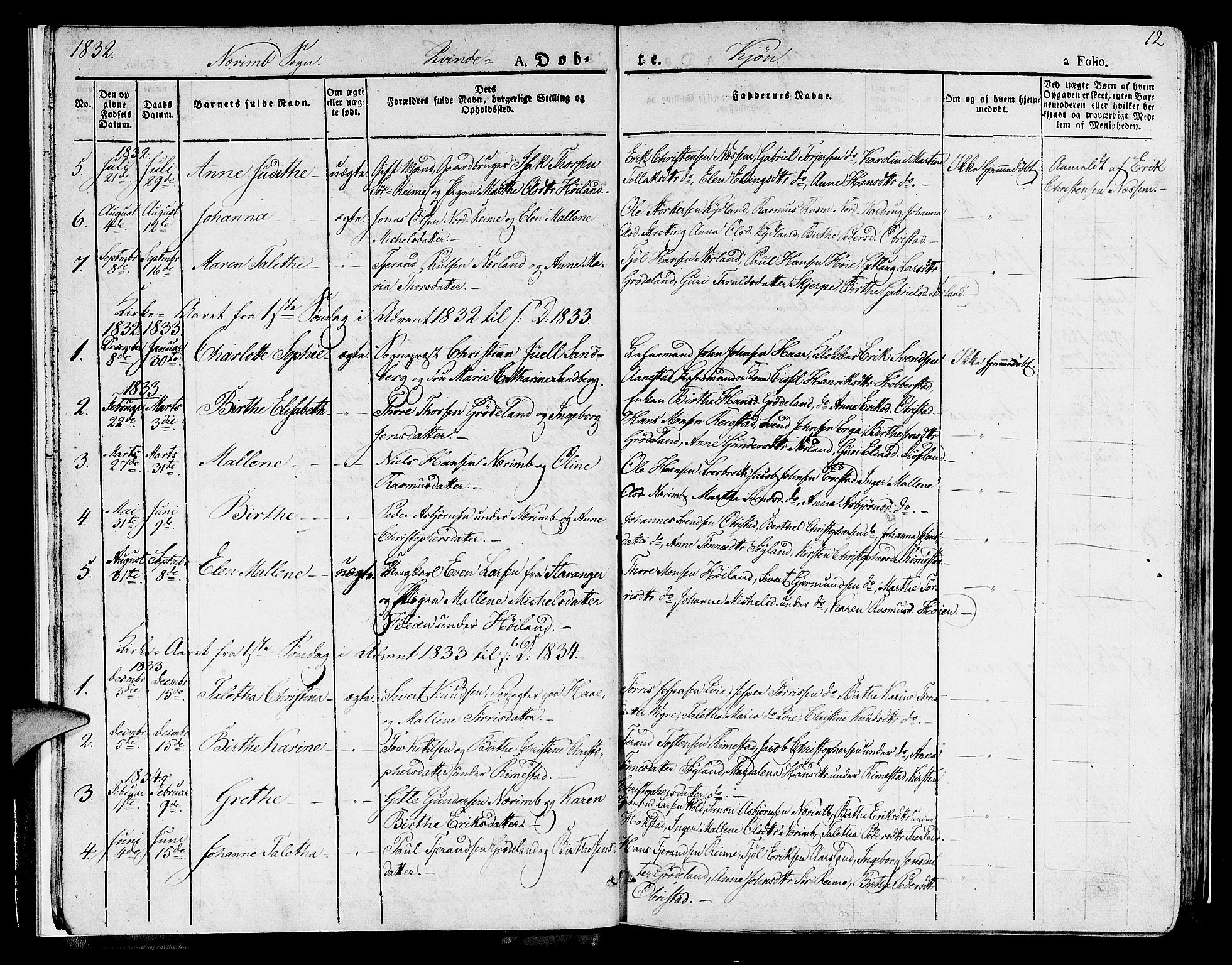 SAST, Hå sokneprestkontor, 30BA/L0004: Ministerialbok nr. A 4.1 /1, 1826-1841, s. 12