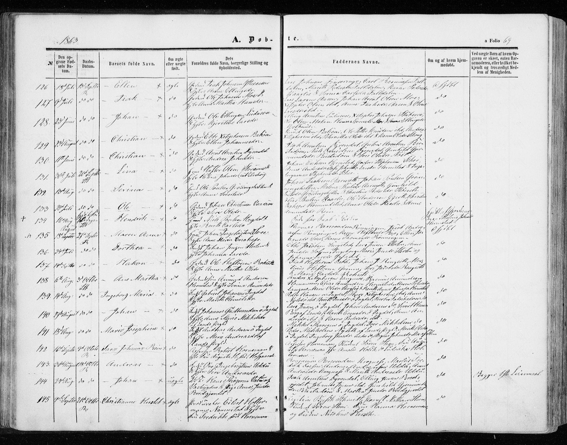 SAT, Ministerialprotokoller, klokkerbøker og fødselsregistre - Sør-Trøndelag, 646/L0612: Ministerialbok nr. 646A10, 1858-1869, s. 69
