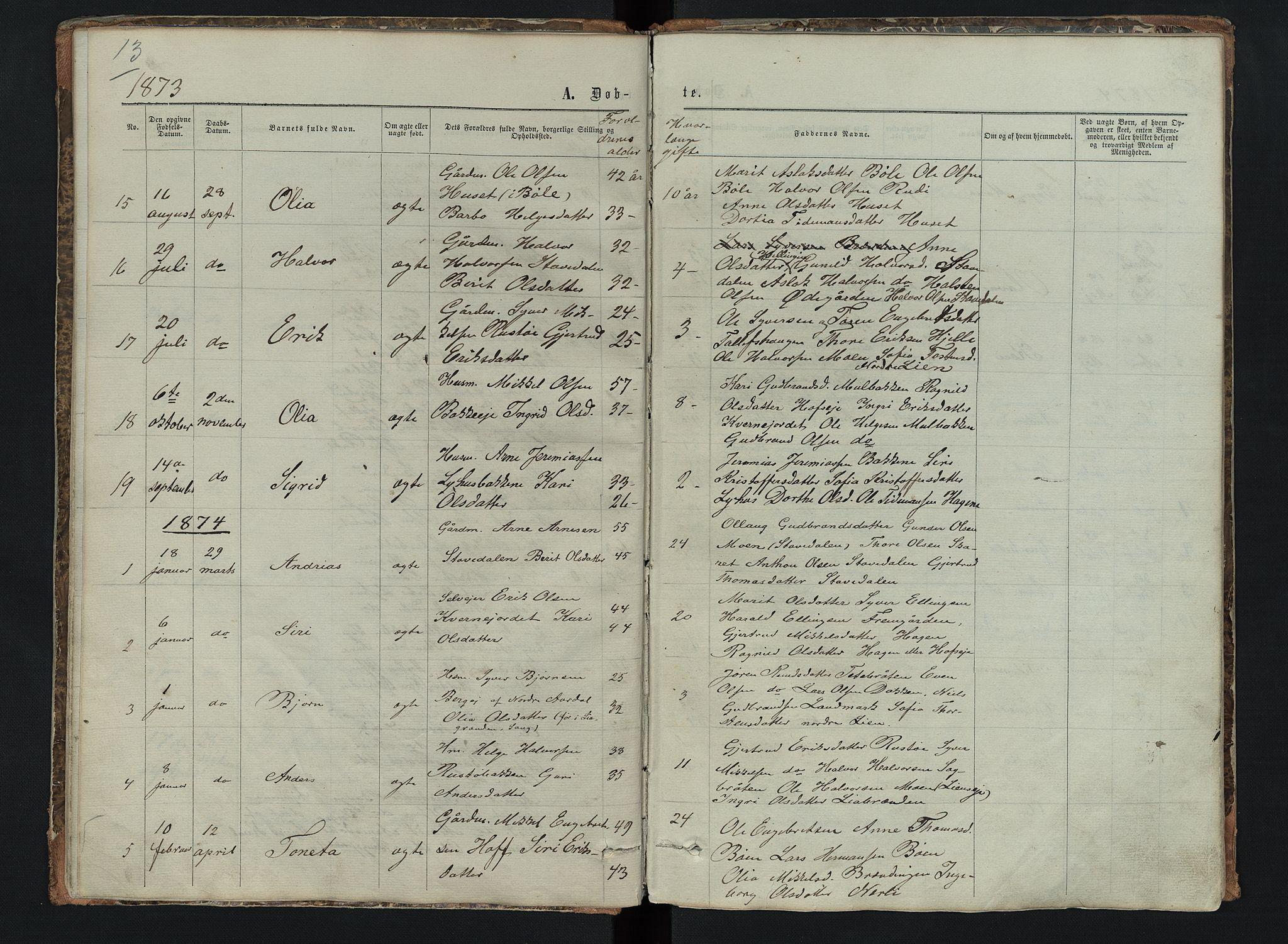SAH, Sør-Aurdal prestekontor, Klokkerbok nr. 6, 1866-1893, s. 13