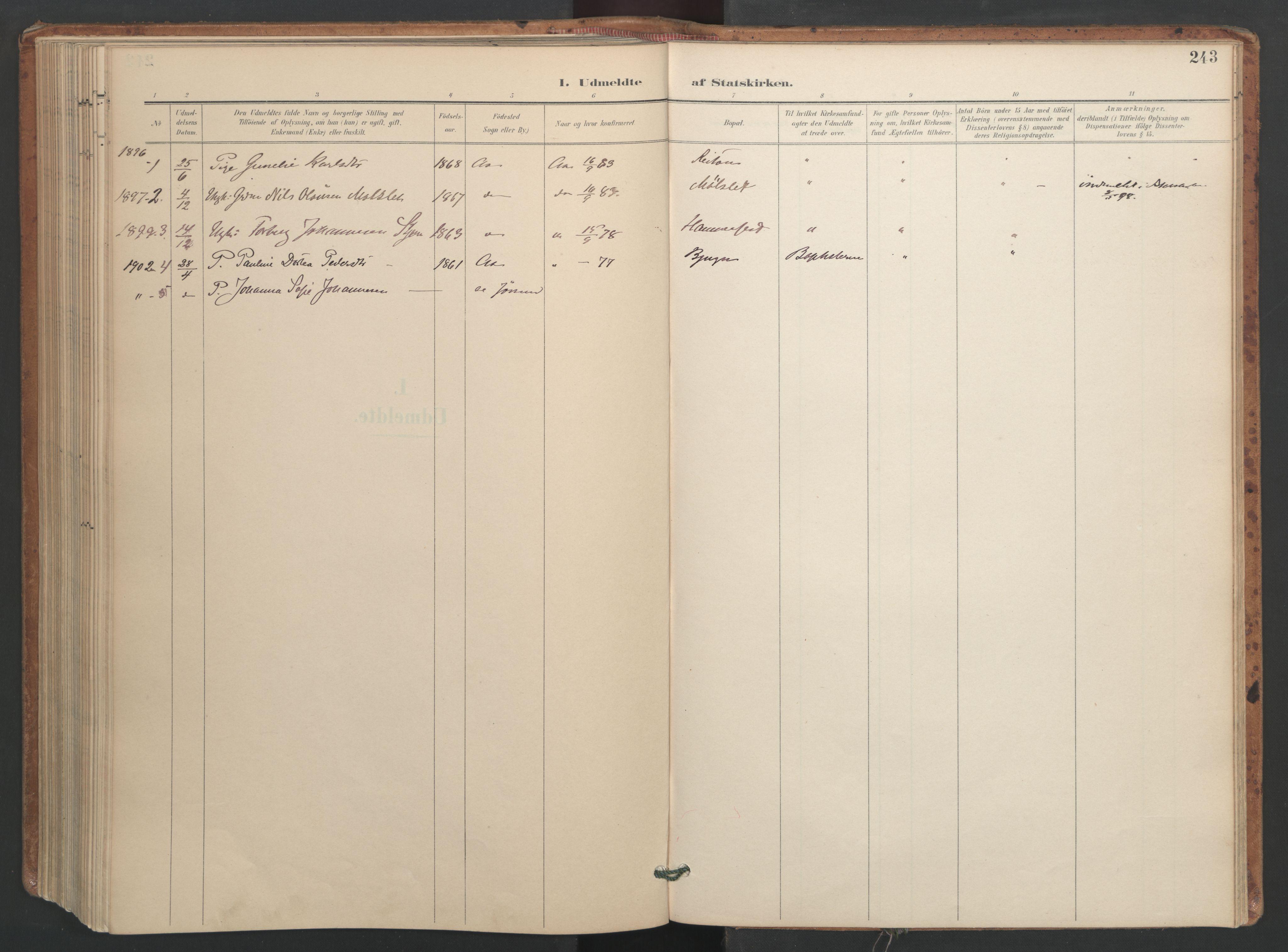 SAT, Ministerialprotokoller, klokkerbøker og fødselsregistre - Sør-Trøndelag, 655/L0681: Ministerialbok nr. 655A10, 1895-1907, s. 243
