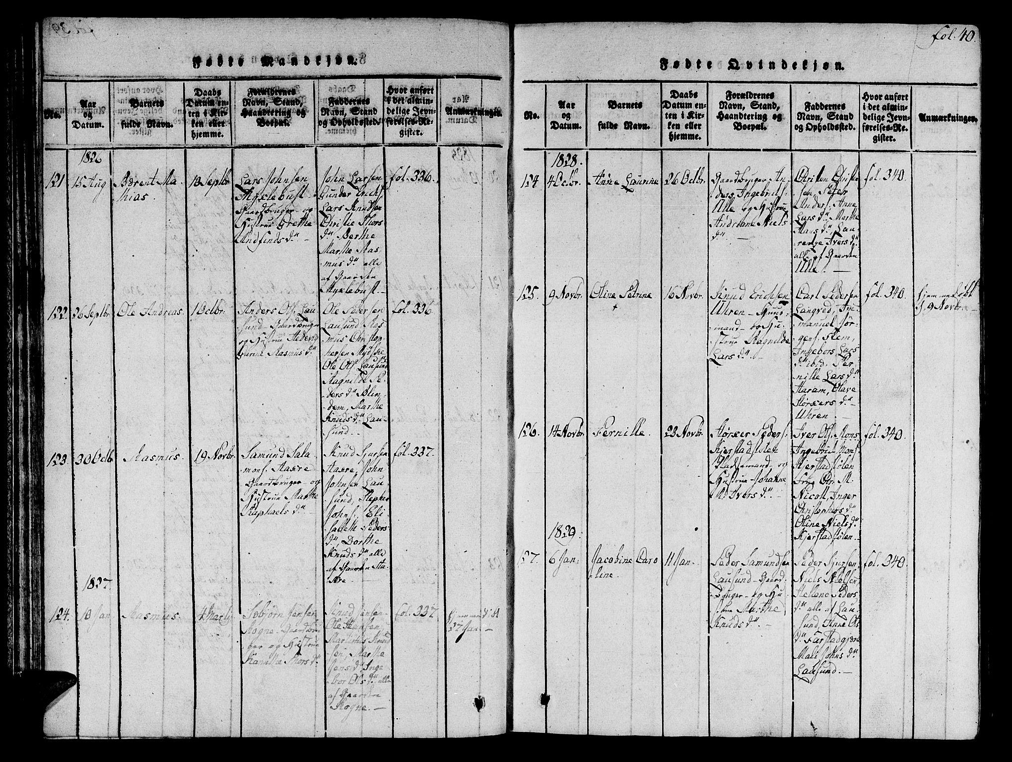 SAT, Ministerialprotokoller, klokkerbøker og fødselsregistre - Møre og Romsdal, 536/L0495: Ministerialbok nr. 536A04, 1818-1847, s. 40