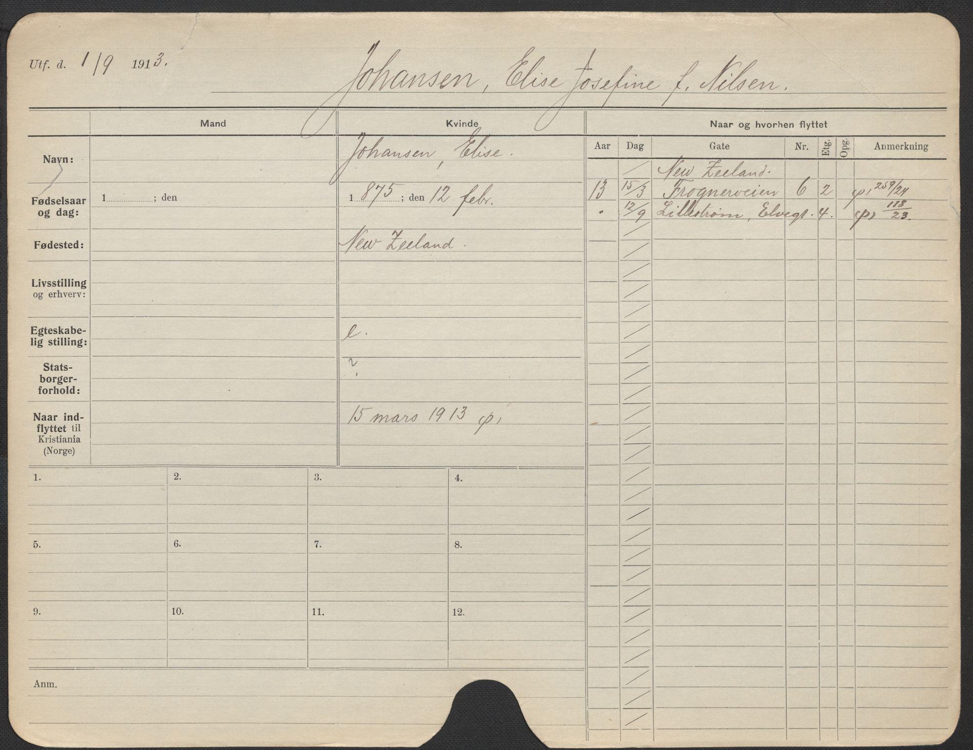 SAO, Oslo folkeregister, Registerkort, F/Fa/Fac/L0017: Kvinner, 1906-1914, s. 726a
