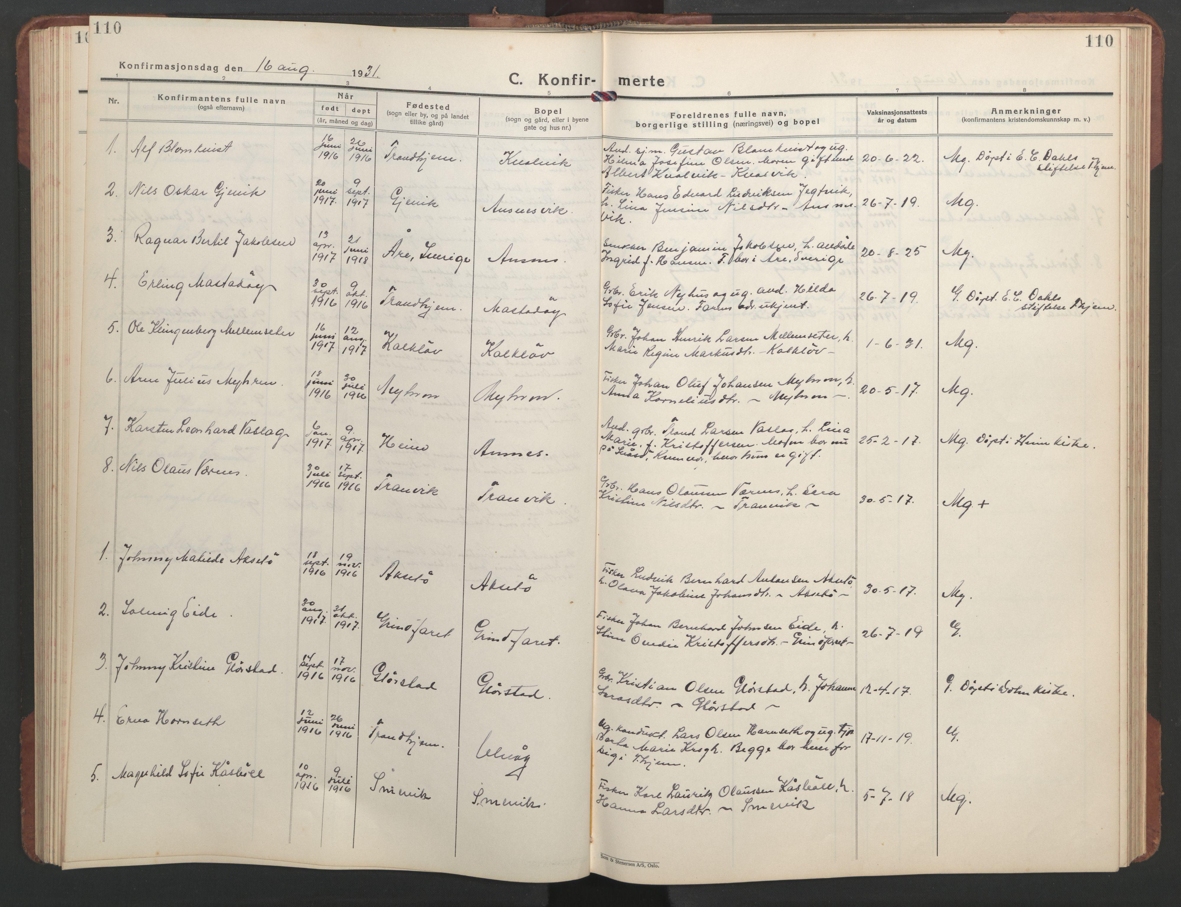 SAT, Ministerialprotokoller, klokkerbøker og fødselsregistre - Sør-Trøndelag, 637/L0564: Klokkerbok nr. 637C05, 1928-1968, s. 110