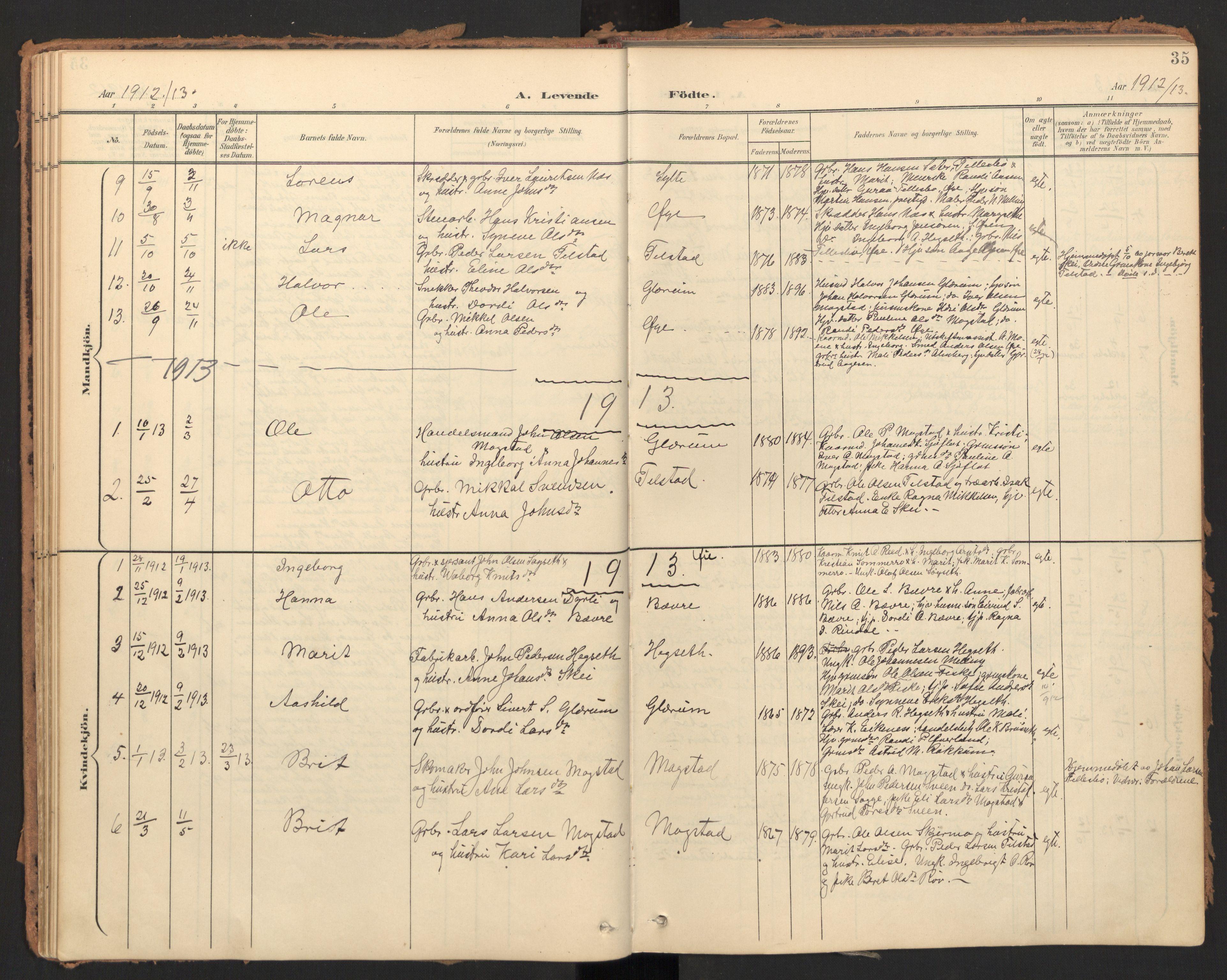 SAT, Ministerialprotokoller, klokkerbøker og fødselsregistre - Møre og Romsdal, 595/L1048: Ministerialbok nr. 595A10, 1900-1917, s. 35
