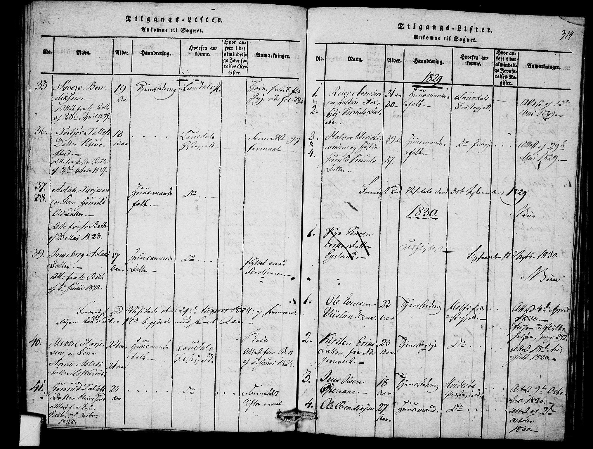 SAKO, Mo kirkebøker, F/Fb/L0001: Ministerialbok nr. II 1, 1814-1844, s. 314