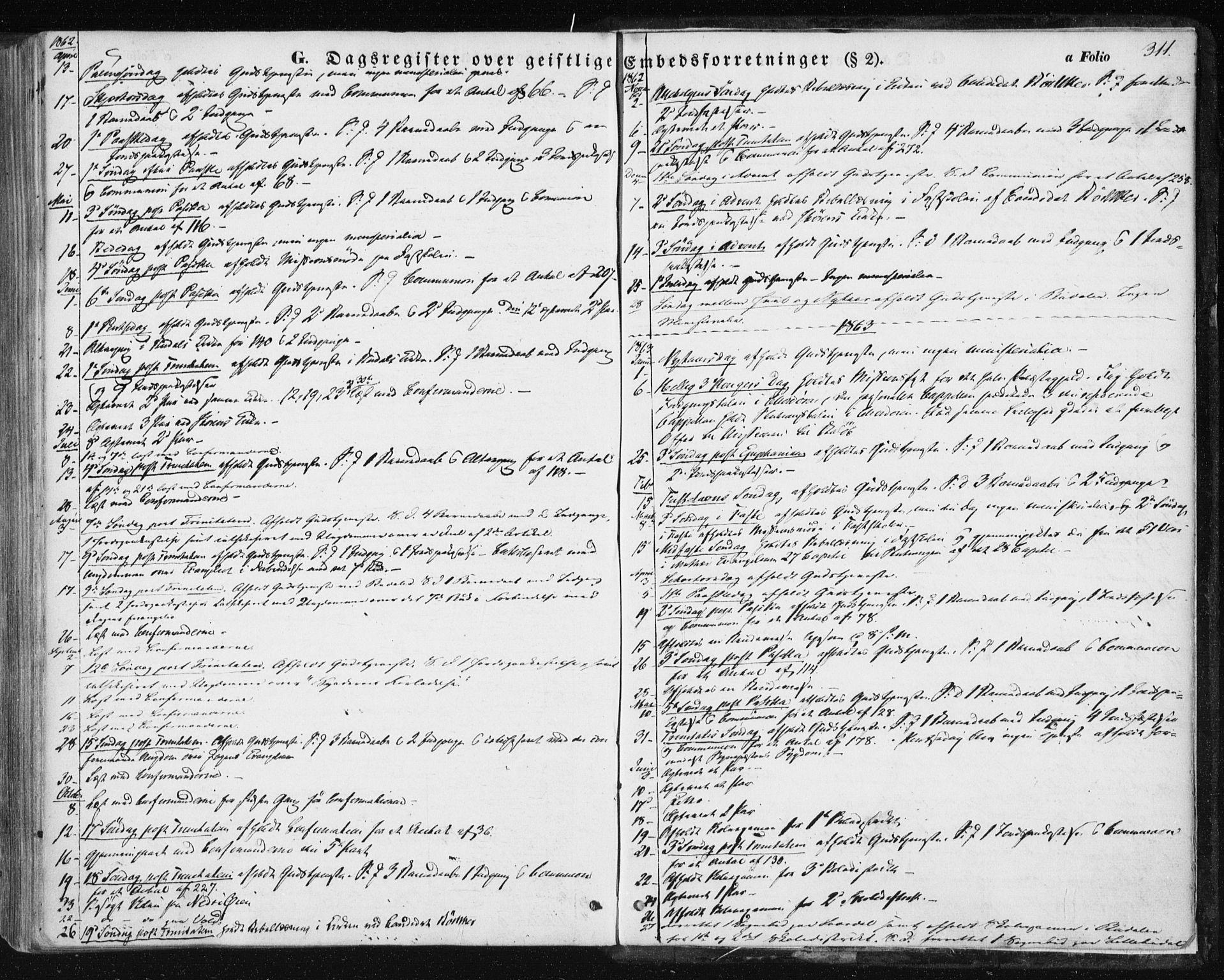 SAT, Ministerialprotokoller, klokkerbøker og fødselsregistre - Sør-Trøndelag, 687/L1000: Ministerialbok nr. 687A06, 1848-1869, s. 311