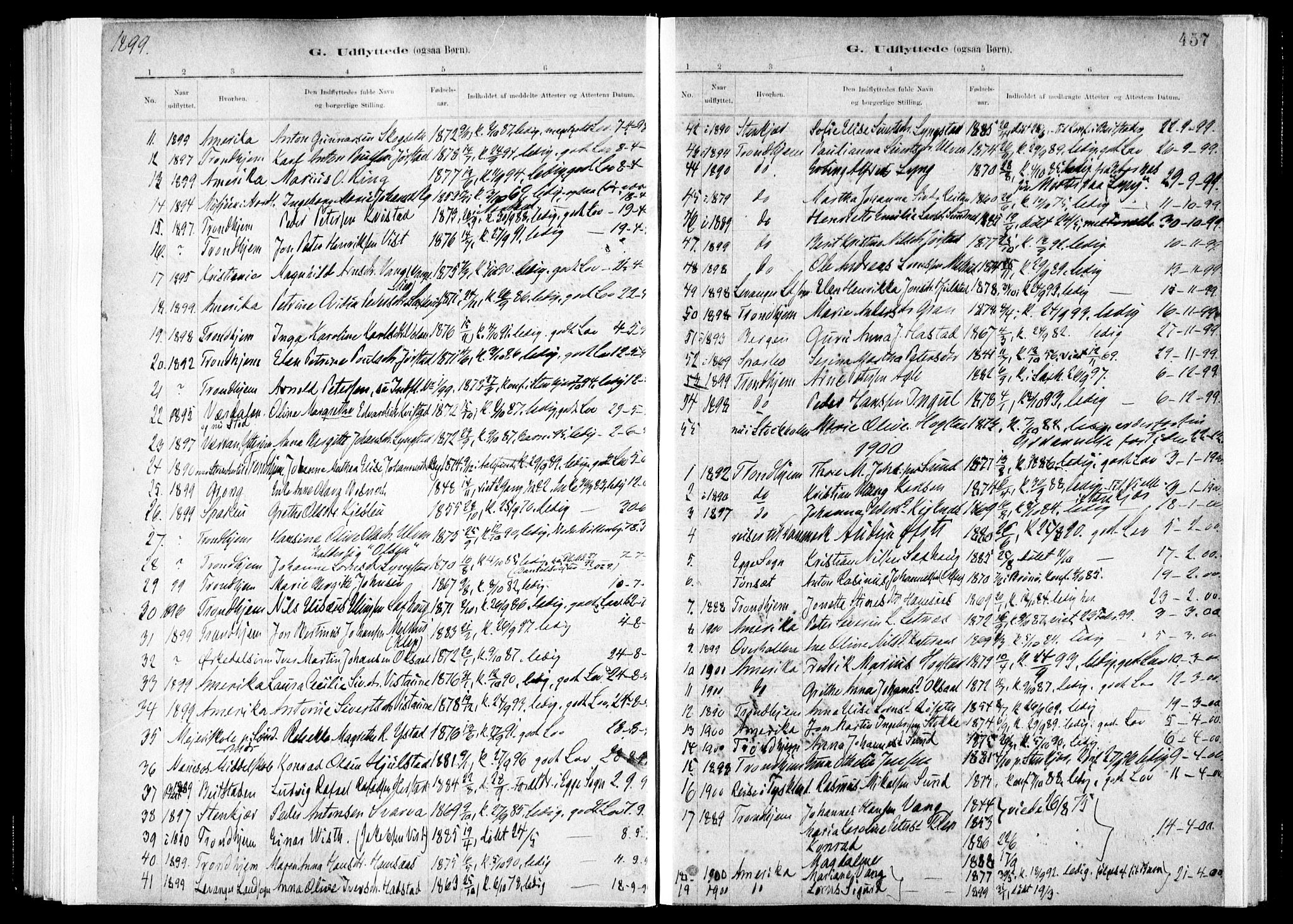 SAT, Ministerialprotokoller, klokkerbøker og fødselsregistre - Nord-Trøndelag, 730/L0285: Ministerialbok nr. 730A10, 1879-1914, s. 457