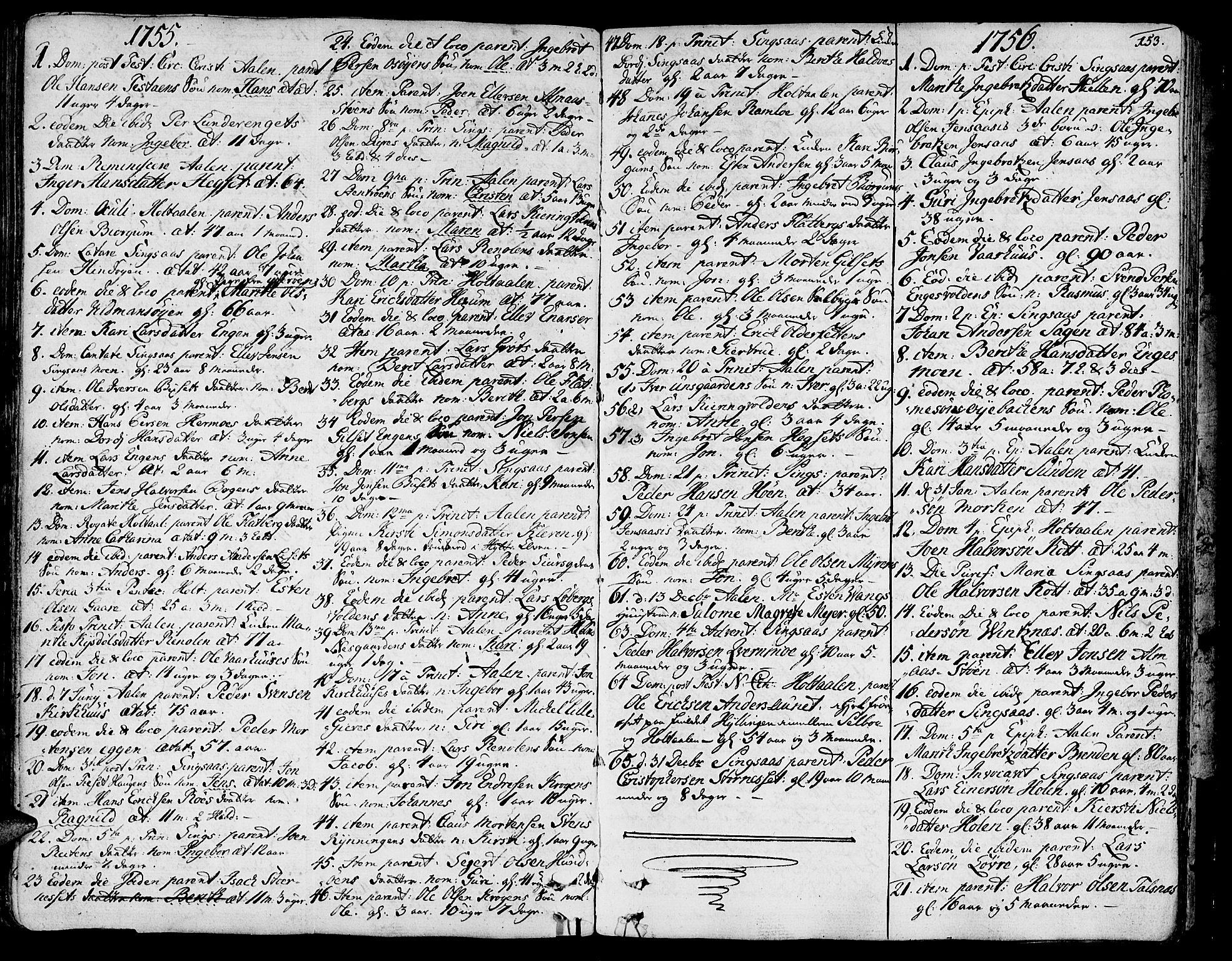 SAT, Ministerialprotokoller, klokkerbøker og fødselsregistre - Sør-Trøndelag, 685/L0952: Ministerialbok nr. 685A01, 1745-1804, s. 153