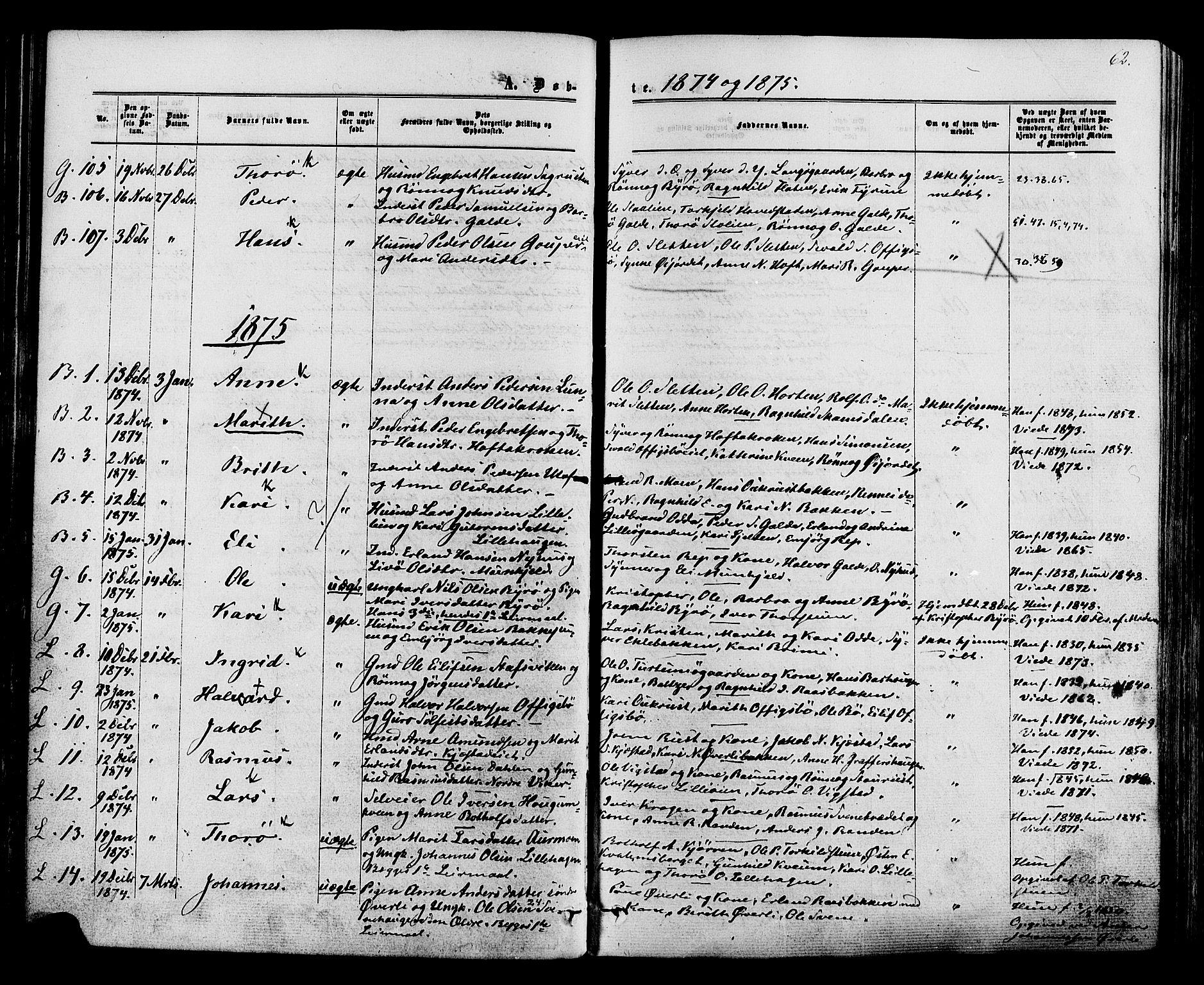 SAH, Lom prestekontor, K/L0007: Ministerialbok nr. 7, 1863-1884, s. 62