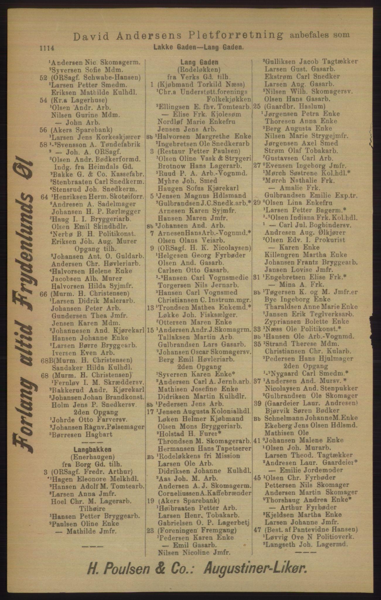 RA, Kristiania adressebok (publikasjon)*, 1906, s. 1114