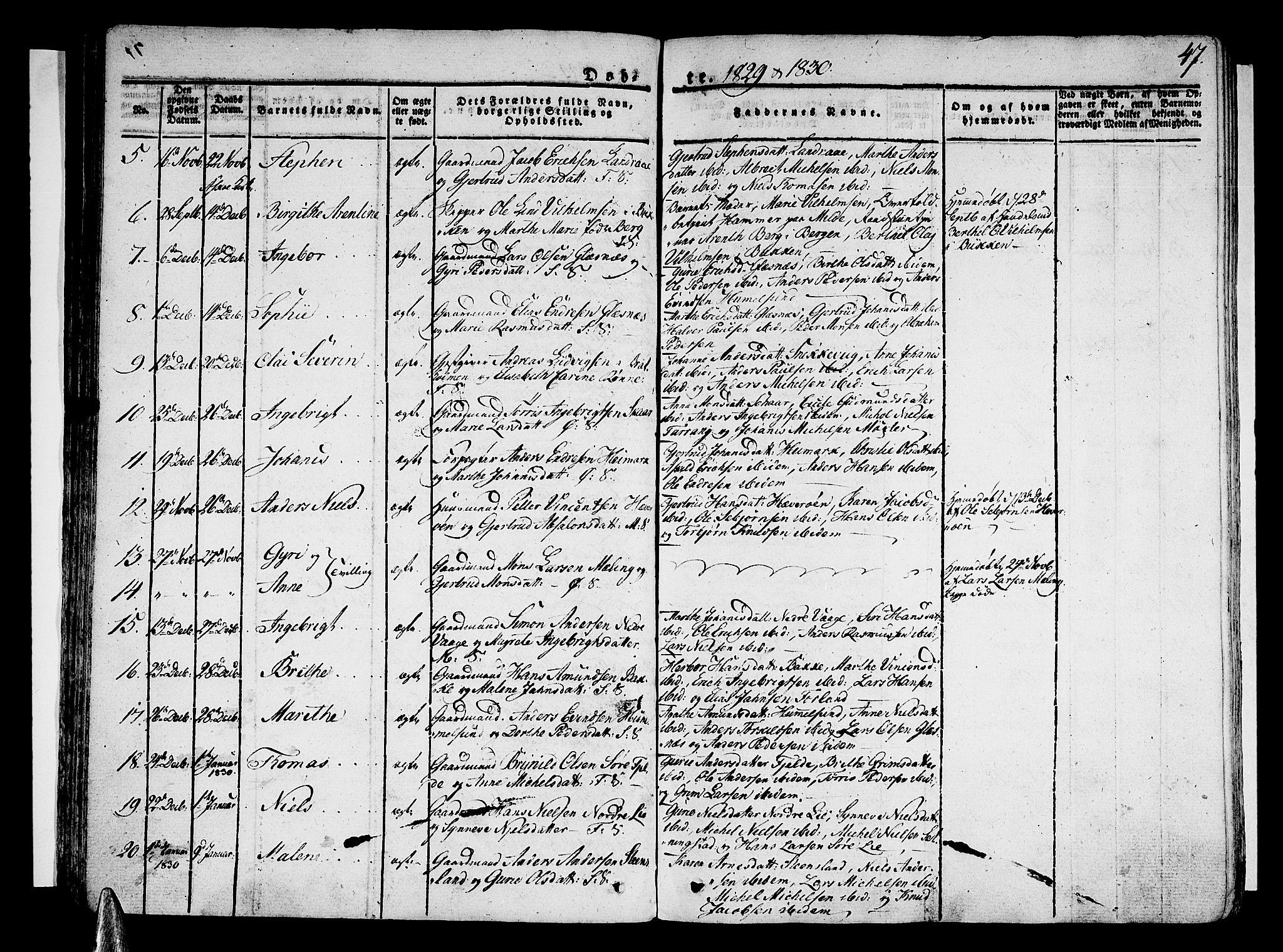 SAB, Sund sokneprestembete, Ministerialbok nr. A 12, 1825-1835, s. 47