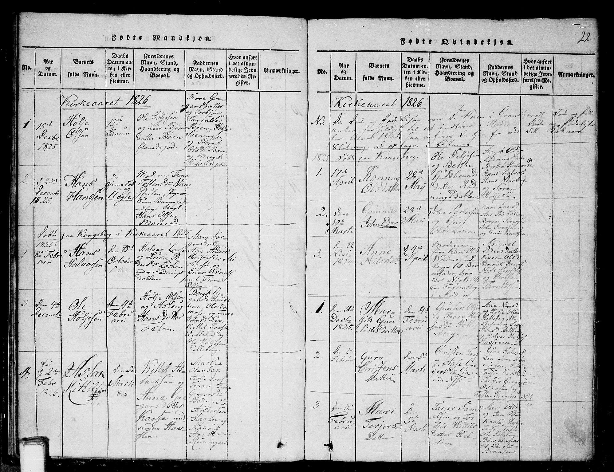 SAKO, Gransherad kirkebøker, G/Ga/L0001: Klokkerbok nr. I 1, 1815-1842, s. 22