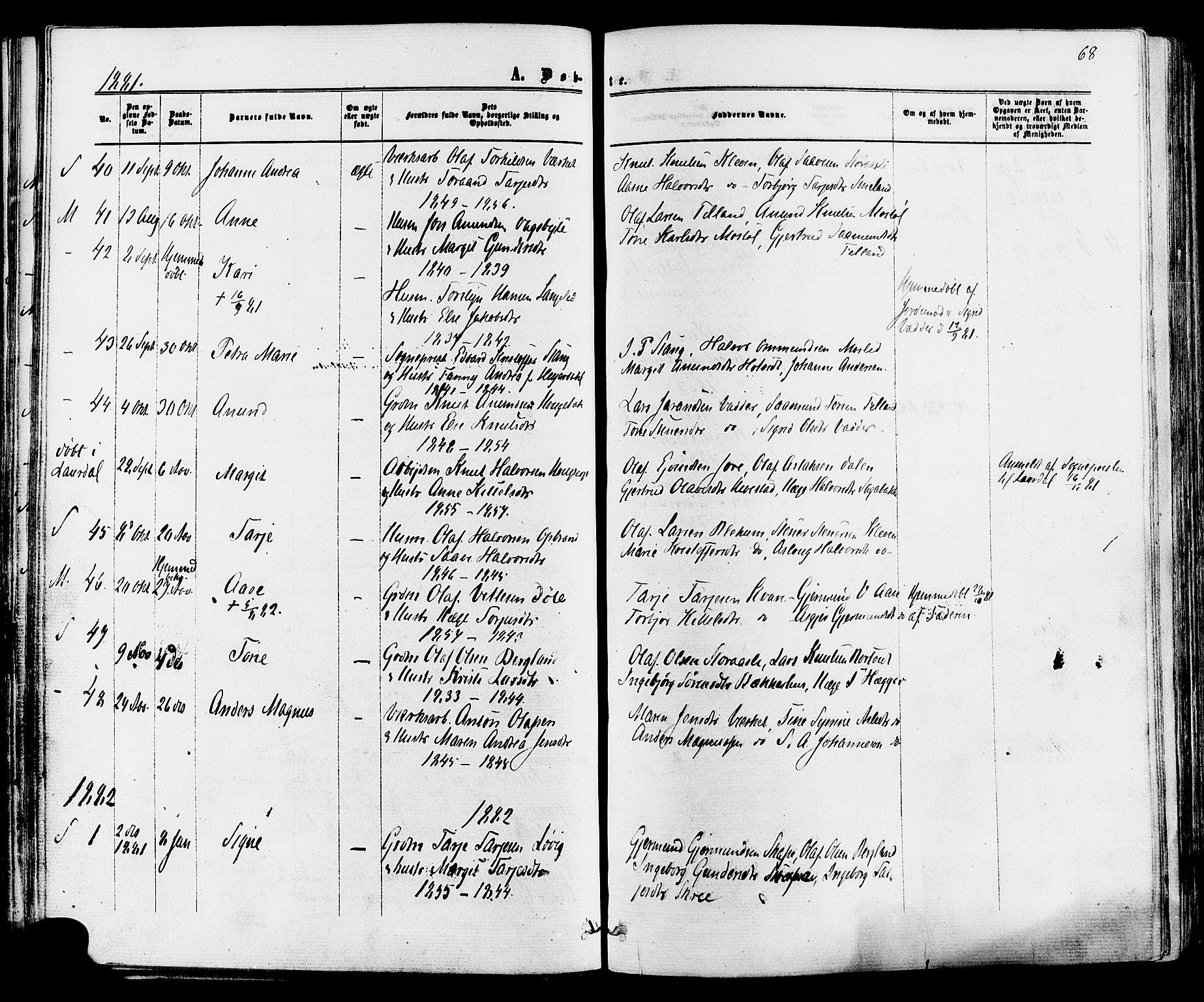 SAKO, Mo kirkebøker, F/Fa/L0006: Ministerialbok nr. I 6, 1865-1885, s. 68