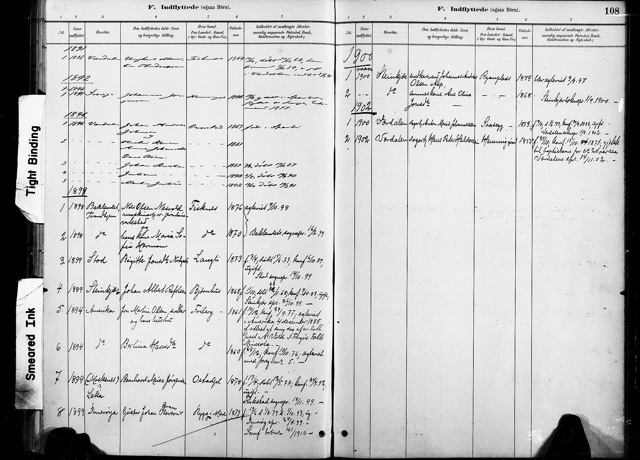 SAT, Ministerialprotokoller, klokkerbøker og fødselsregistre - Nord-Trøndelag, 738/L0364: Ministerialbok nr. 738A01, 1884-1902, s. 108