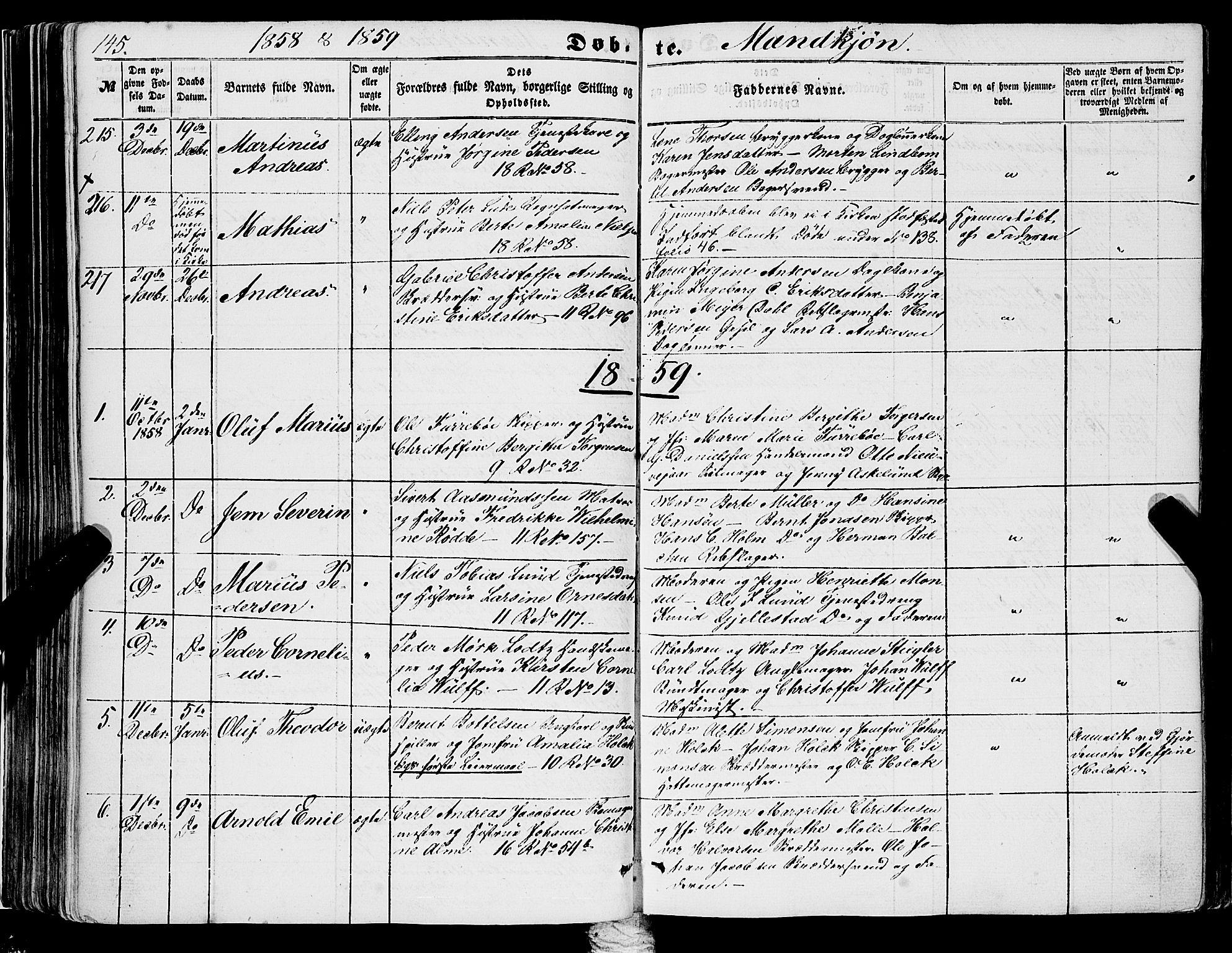 SAB, Domkirken Sokneprestembete, H/Haa/L0020: Ministerialbok nr. B 3, 1851-1859, s. 145