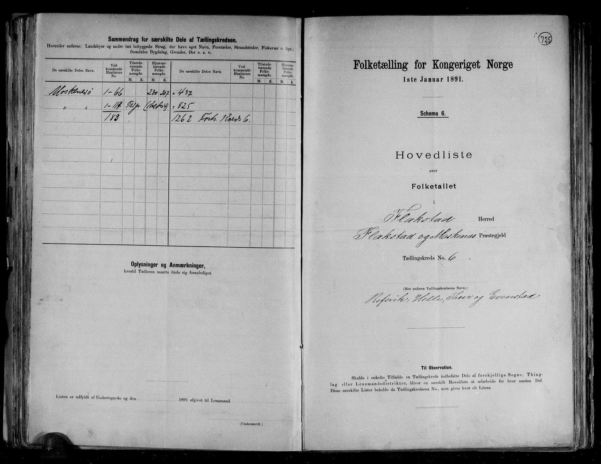 RA, Folketelling 1891 for 1859 Flakstad herred, 1891, s. 14