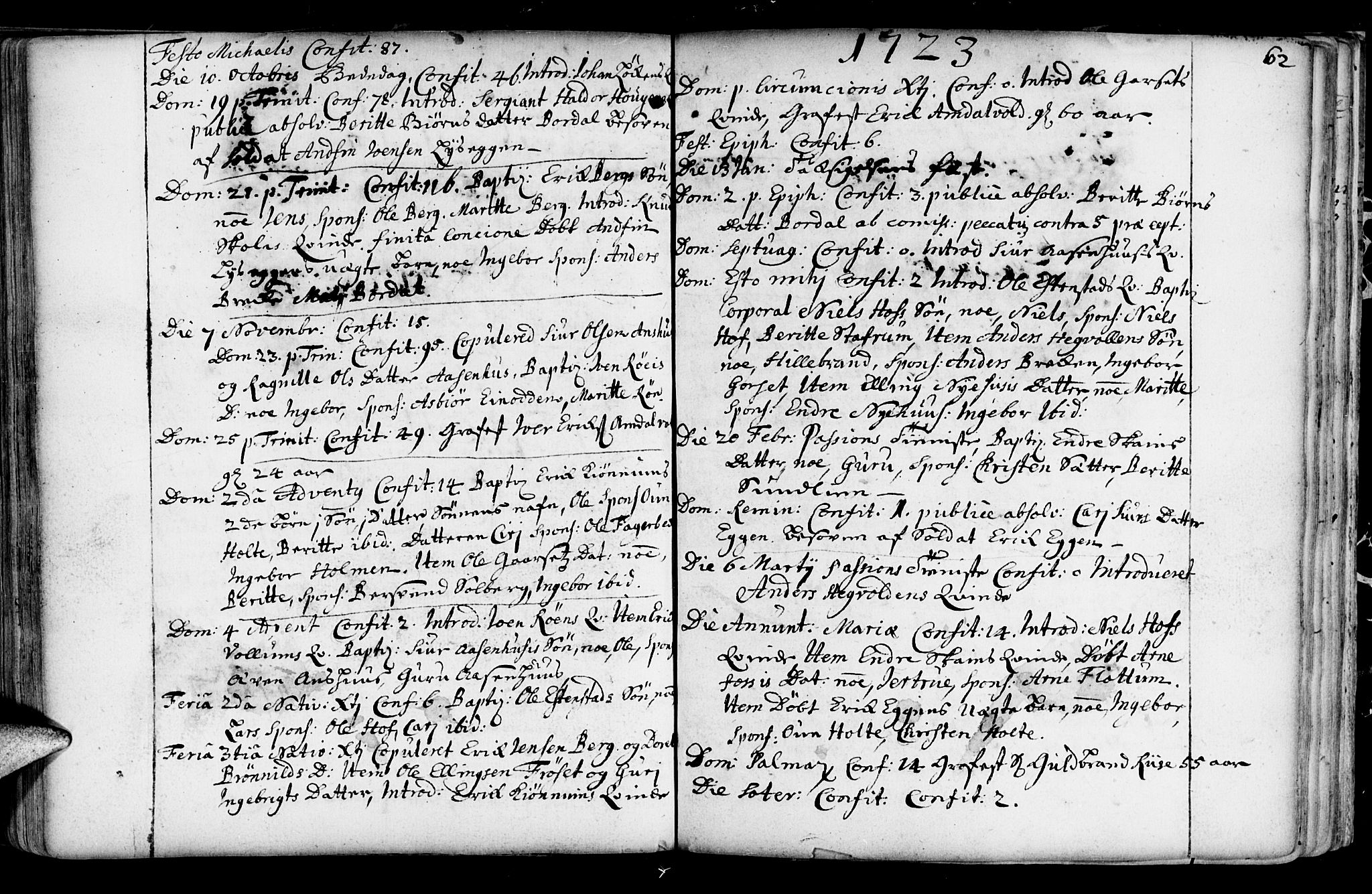 SAT, Ministerialprotokoller, klokkerbøker og fødselsregistre - Sør-Trøndelag, 689/L1036: Ministerialbok nr. 689A01, 1696-1746, s. 62