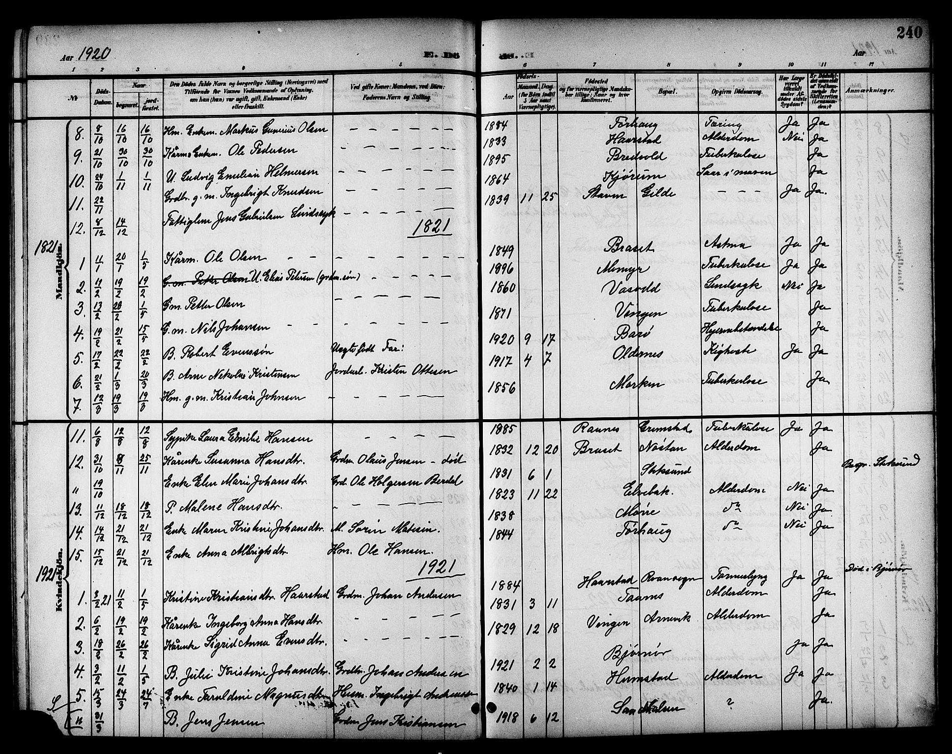 SAT, Ministerialprotokoller, klokkerbøker og fødselsregistre - Sør-Trøndelag, 655/L0688: Klokkerbok nr. 655C04, 1899-1922, s. 240
