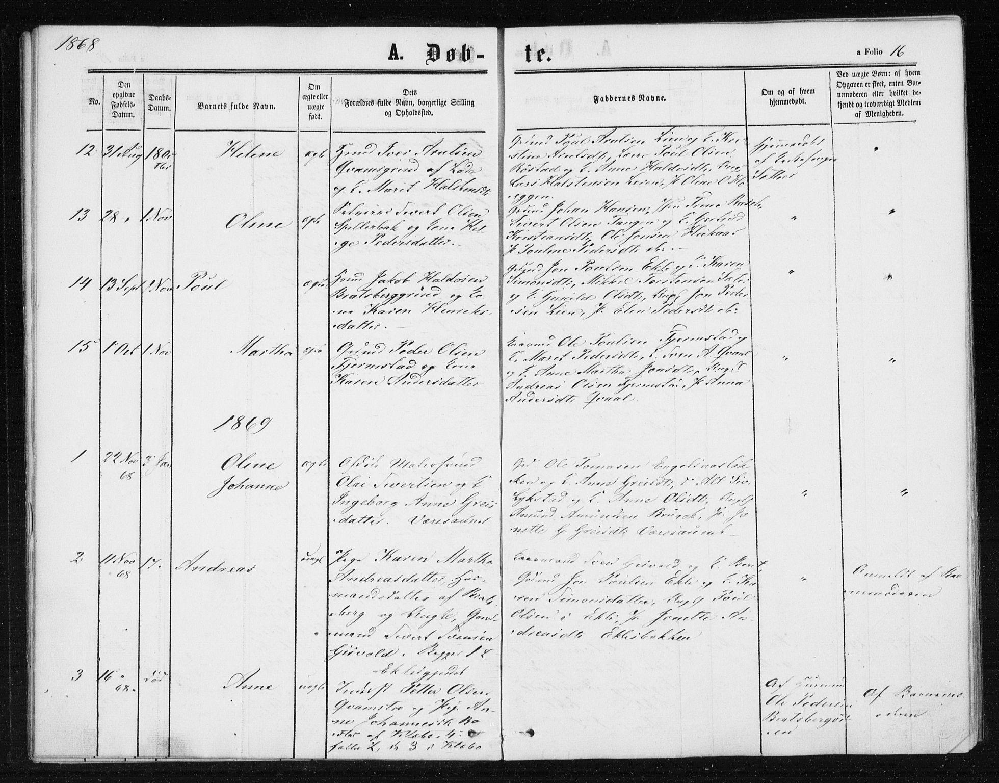 SAT, Ministerialprotokoller, klokkerbøker og fødselsregistre - Sør-Trøndelag, 608/L0333: Ministerialbok nr. 608A02, 1862-1876, s. 16