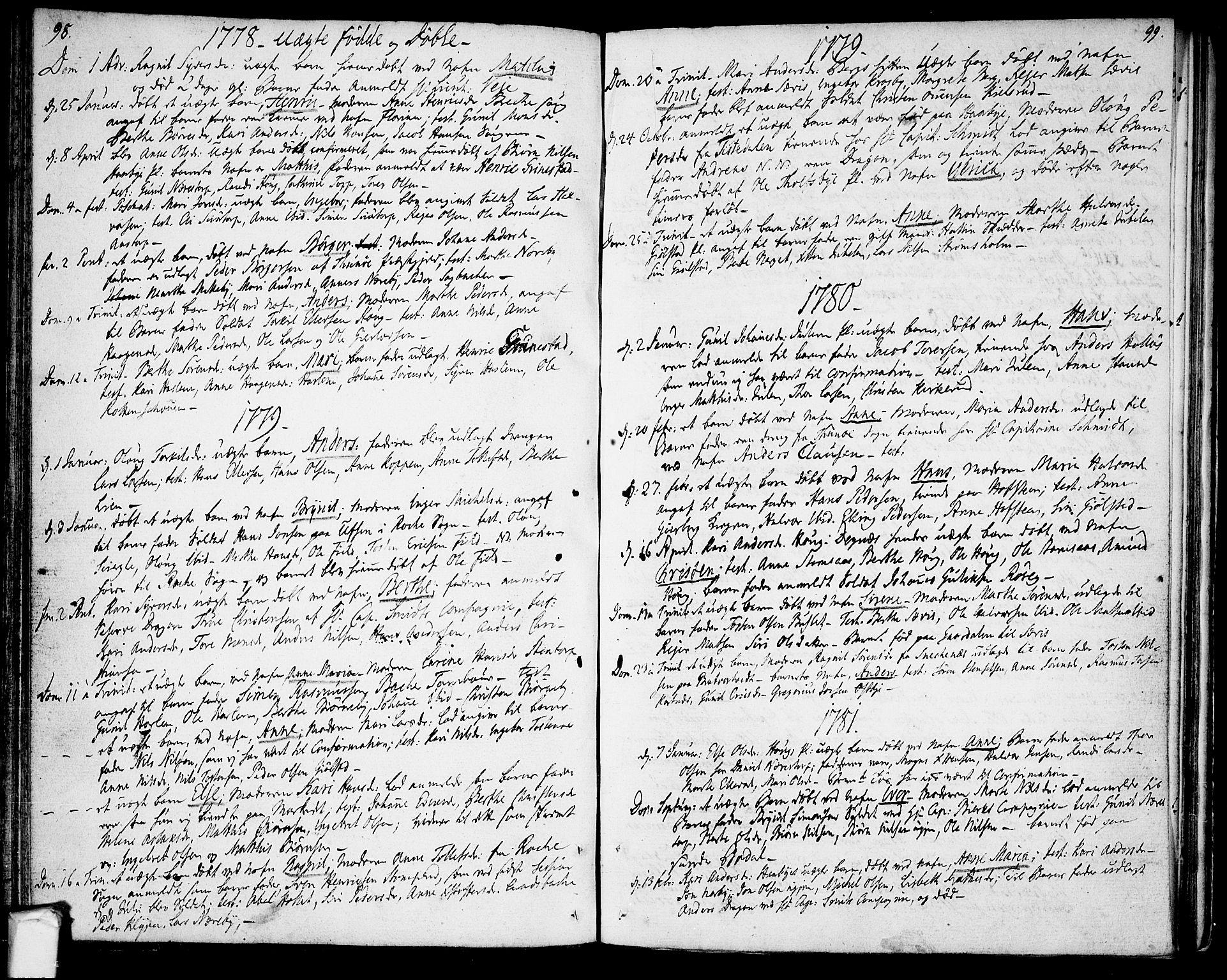 SAO, Rakkestad prestekontor Kirkebøker, F/Fa/L0004: Ministerialbok nr. I 4, 1777-1783, s. 98-99