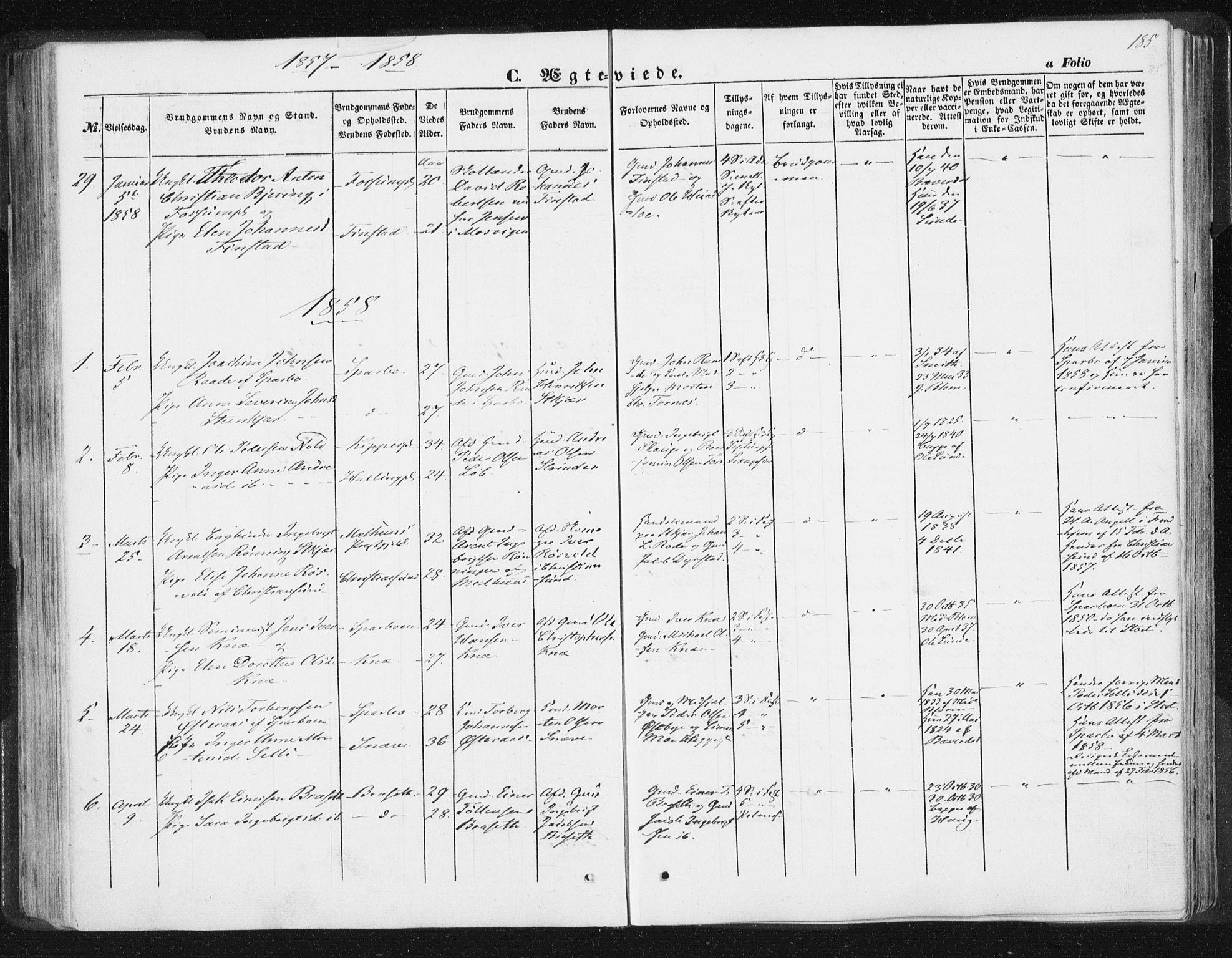SAT, Ministerialprotokoller, klokkerbøker og fødselsregistre - Nord-Trøndelag, 746/L0446: Ministerialbok nr. 746A05, 1846-1859, s. 185